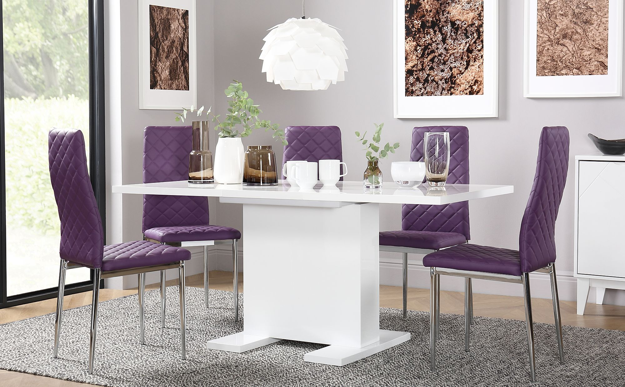 Osaka White High Gloss Extending Dining Table With 6 Renzo