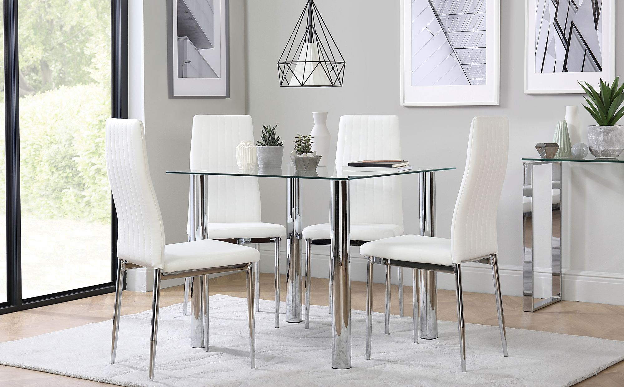 Nova Square Glass and Chrome Dining Table with 4 Leon ...