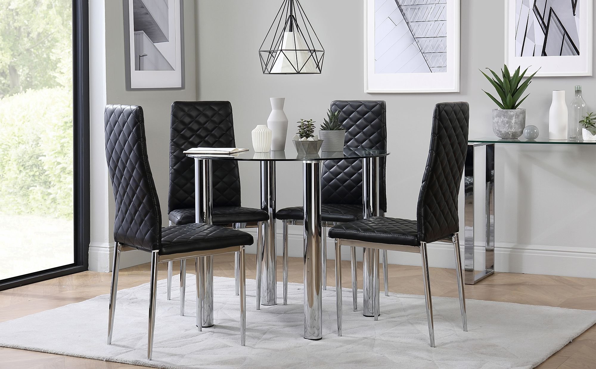 solar round chrome and glass dining table with 4 renzo