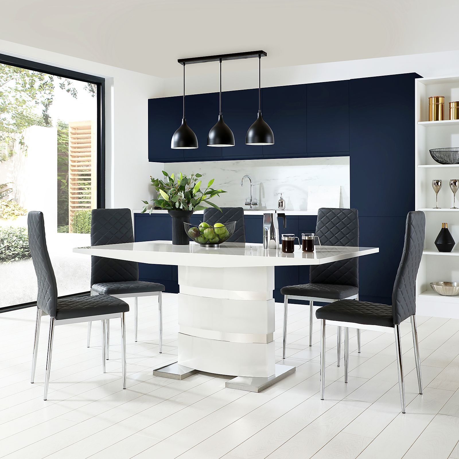 Komoro White High Gloss Dining Table With 6 Renzo Grey