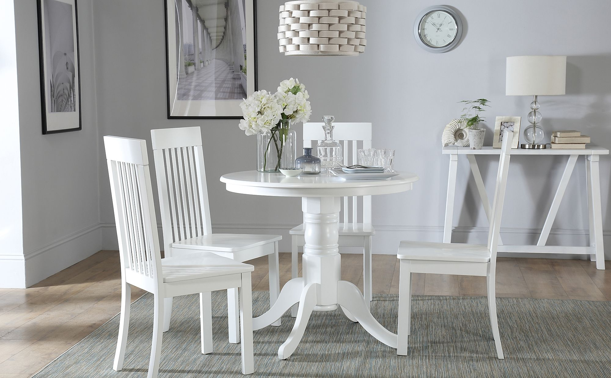 Kingston Round White Dining Table with 4 Oxford Chairs ...
