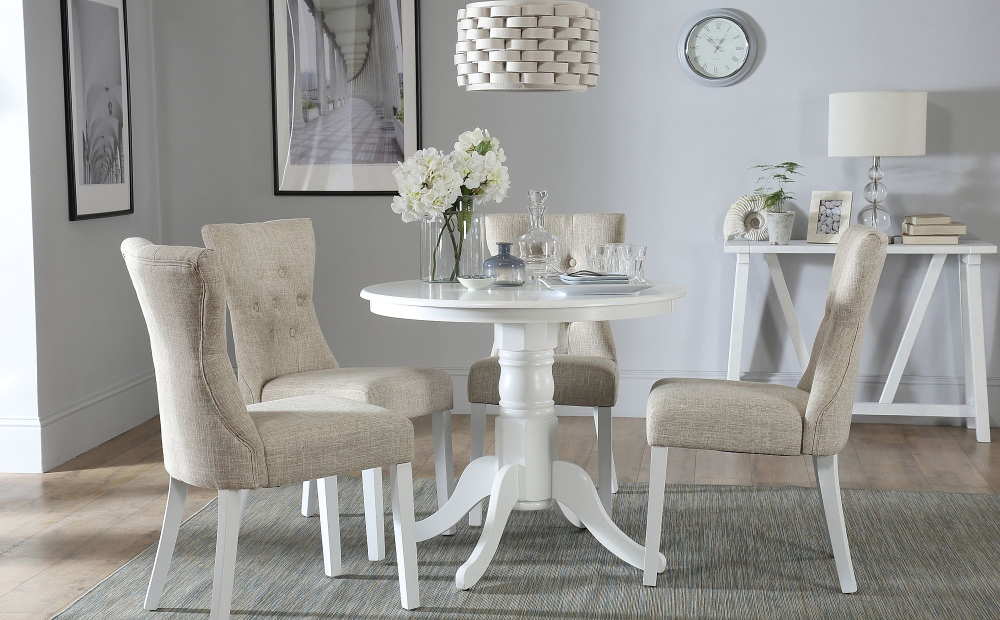 competitive price c2f0f 21848 Kingston Round White Dining Table - with 4 Bewley Oatmeal Chairs