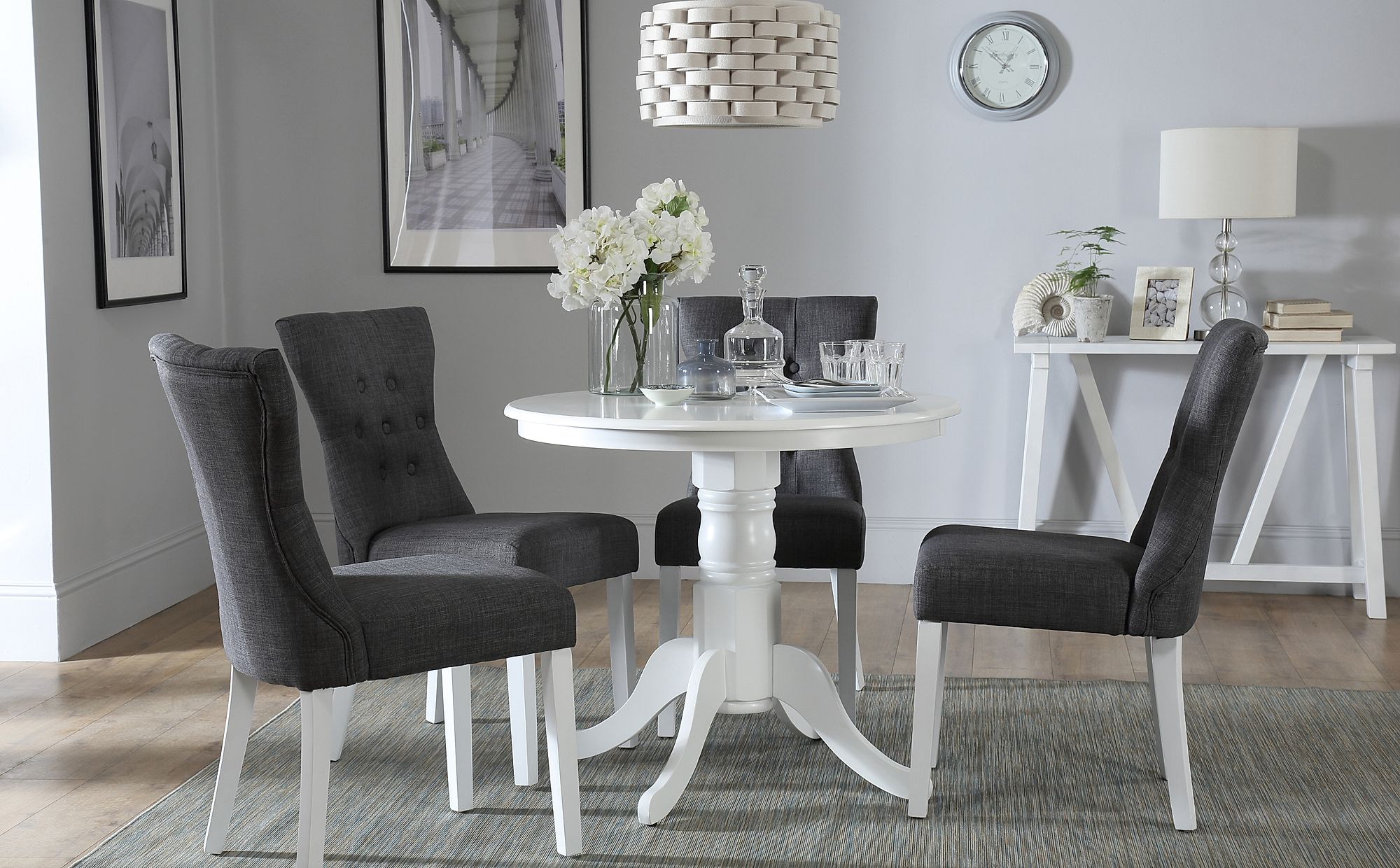 Kingston Round White Dining Table with 4 Bewley Slate ...