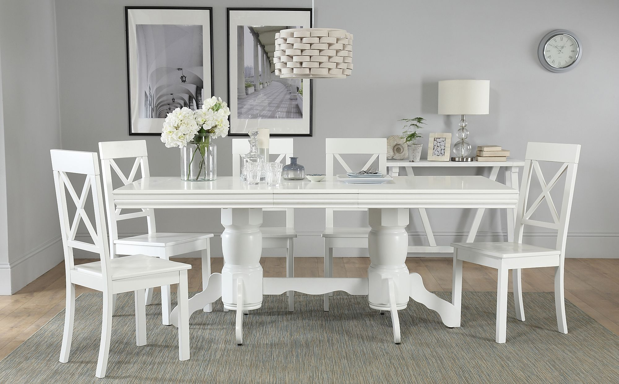 Chatsworth White Extending Dining Table With 4 Kendal Chairs Only