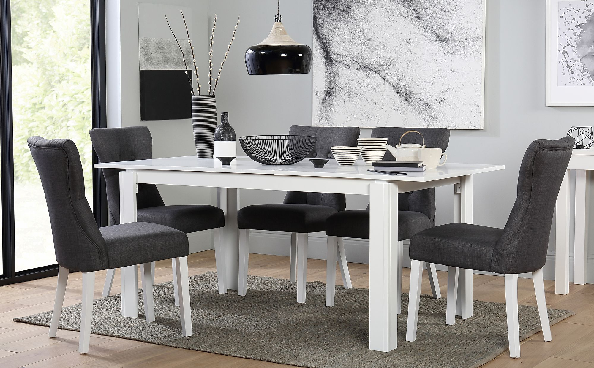 Aspen White Extending Dining Table With 6 Bewley Slate Fabric Chairs Furniture Choice