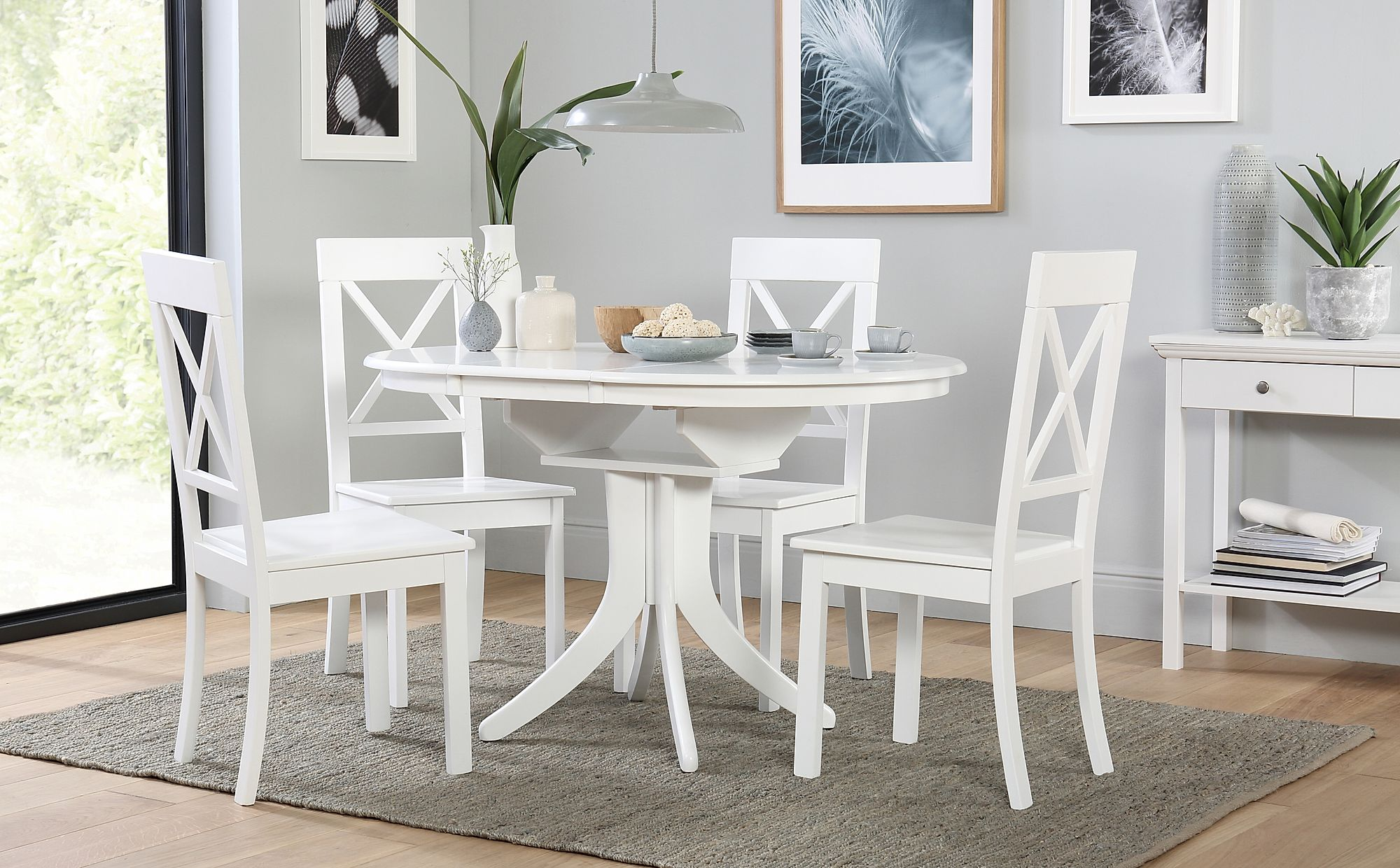 Hudson Round White Extending Dining Table with 6 Kendal ...
