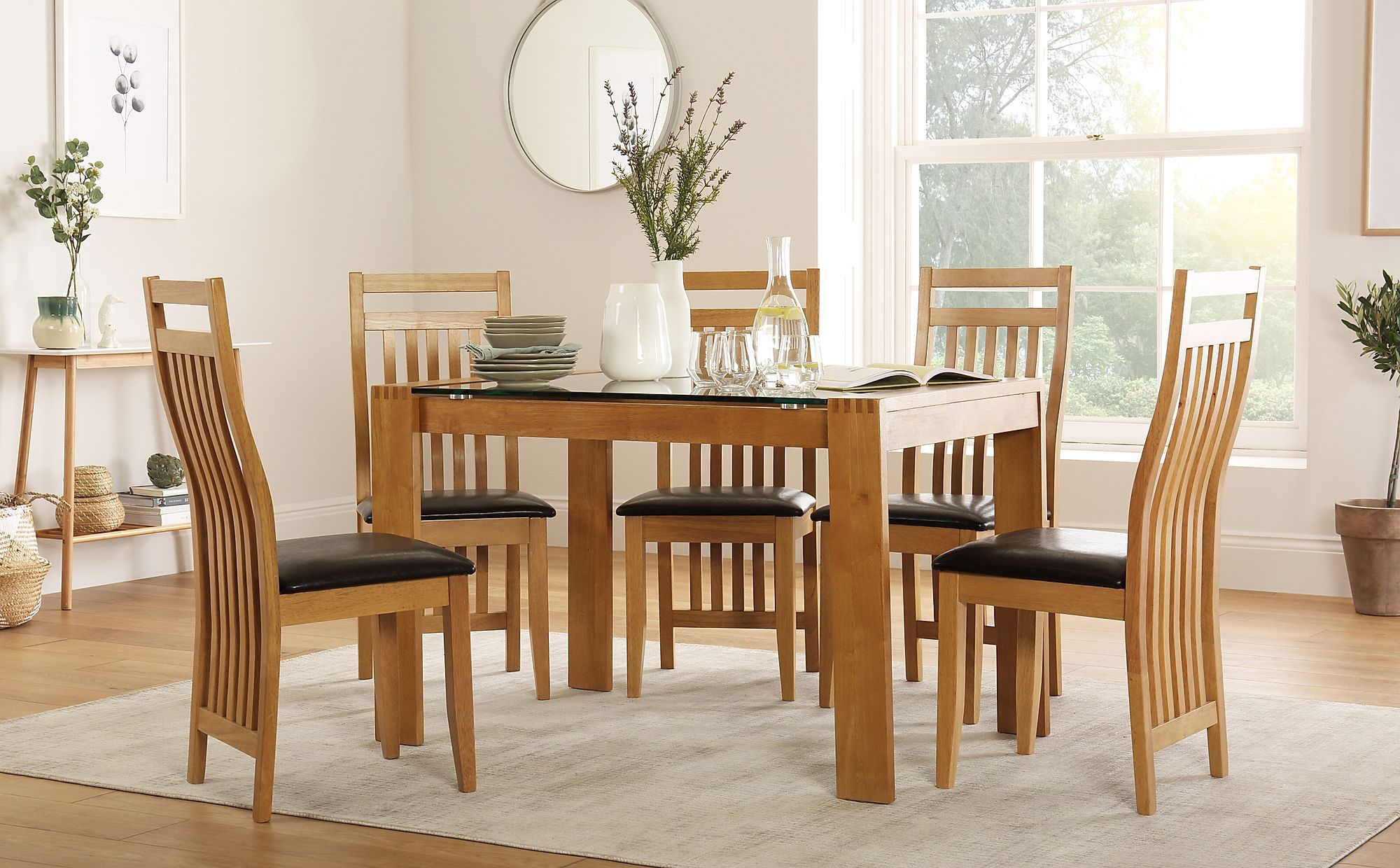 Tate 120cm Oak And Glass Dining Table With 4 Bali Chairs