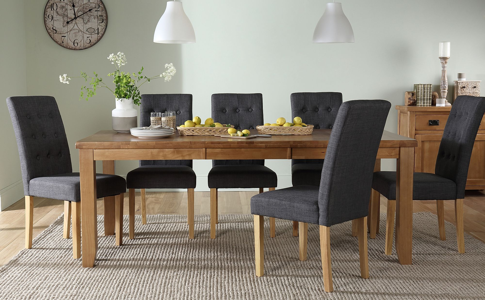 Highbury Oak Extending Dining Table with 6 Regent Slate ...