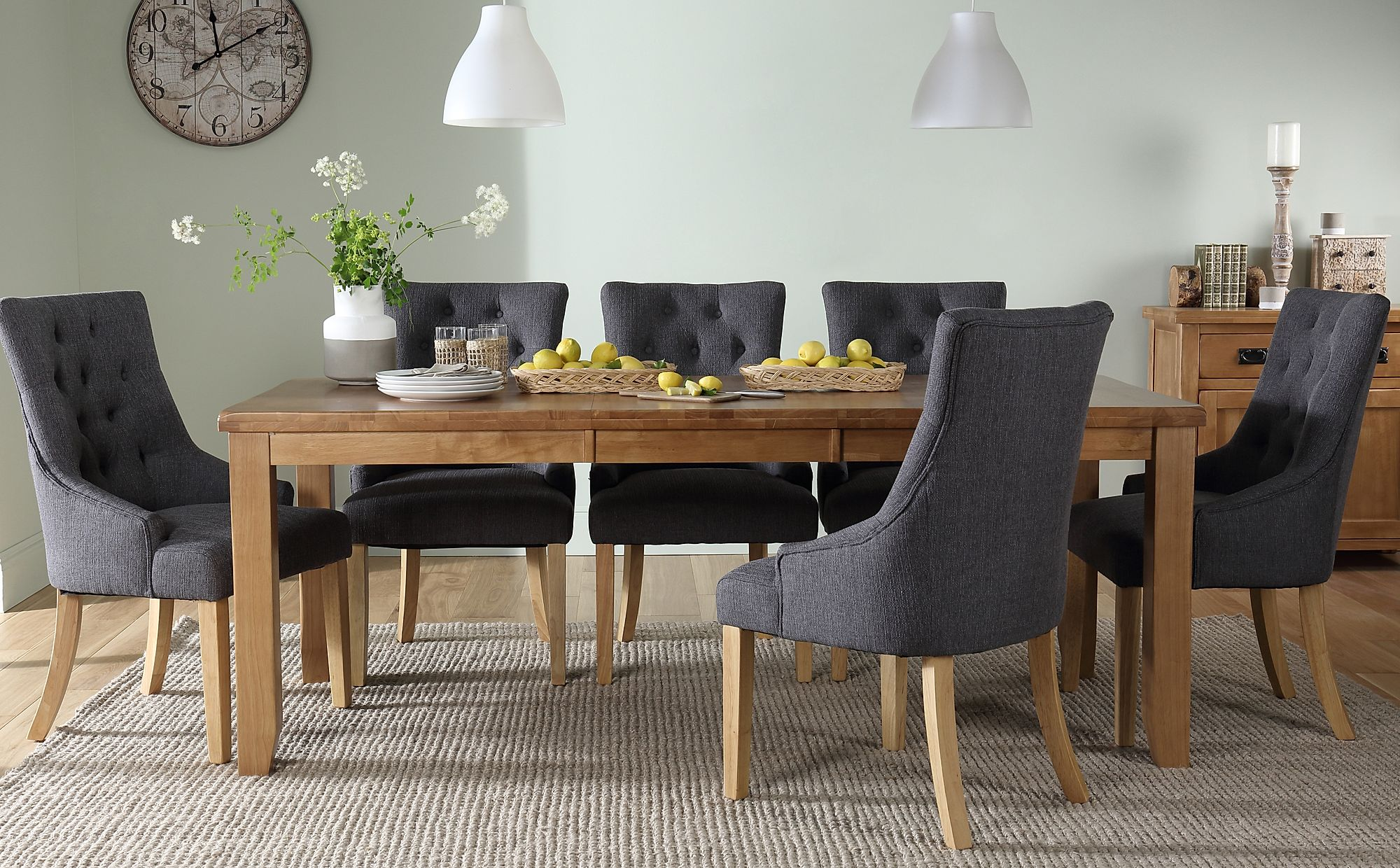 Highbury Oak Extending Dining Table with 8 Duke Slate ...