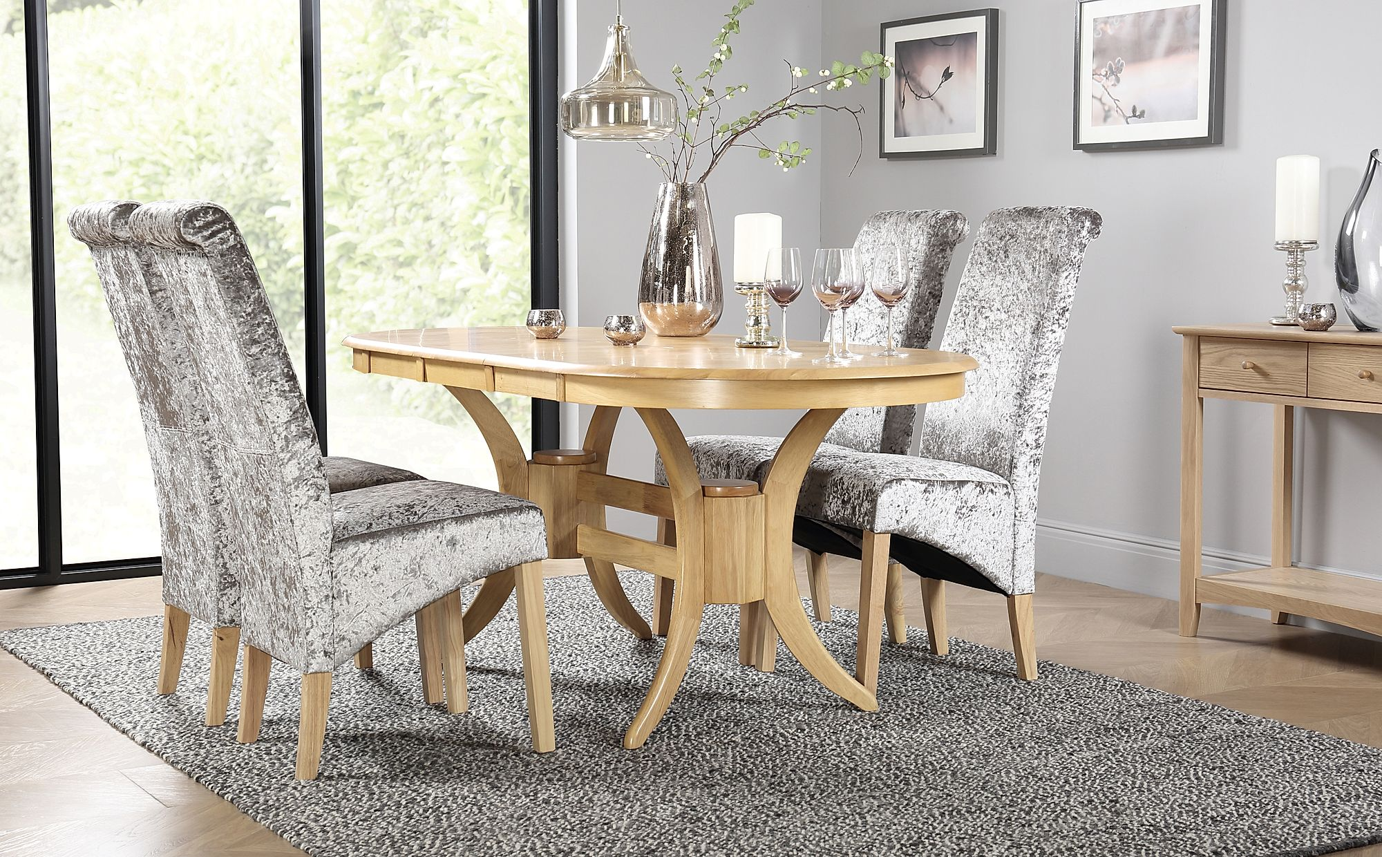 Townhouse Oval Oak Extending Dining Table with 6 Bewley ...