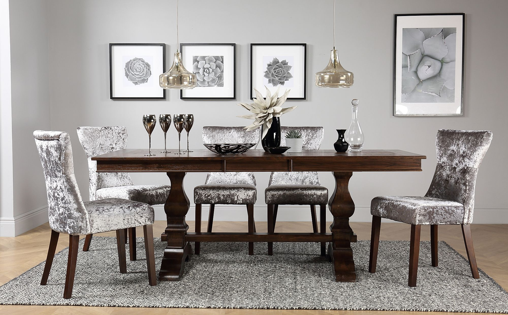 cavendish dark wood extending dining table with 6 bewley silver velvet chairs only. Black Bedroom Furniture Sets. Home Design Ideas