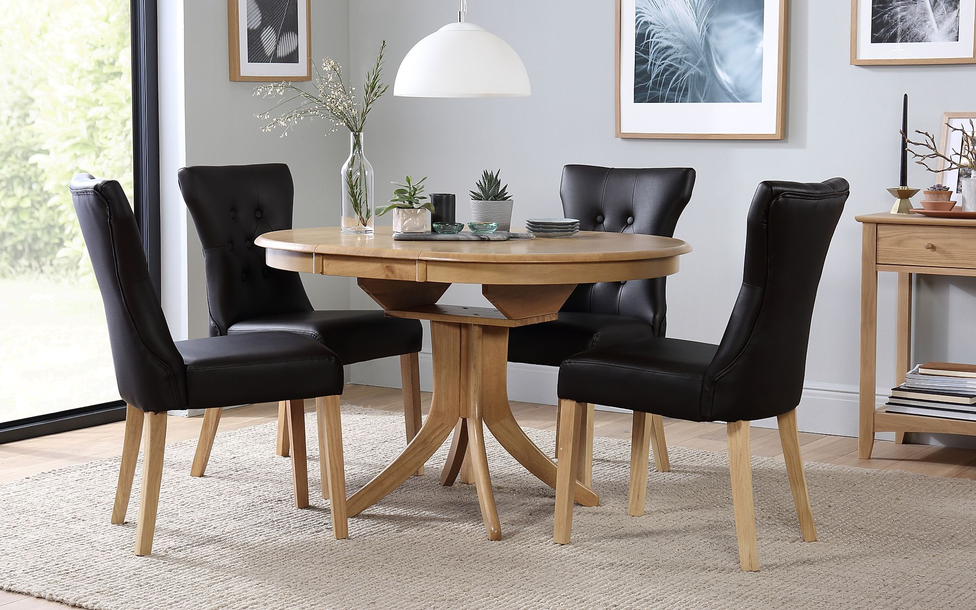 Hudson Round Extending Dining Table With 4 Chairs Set