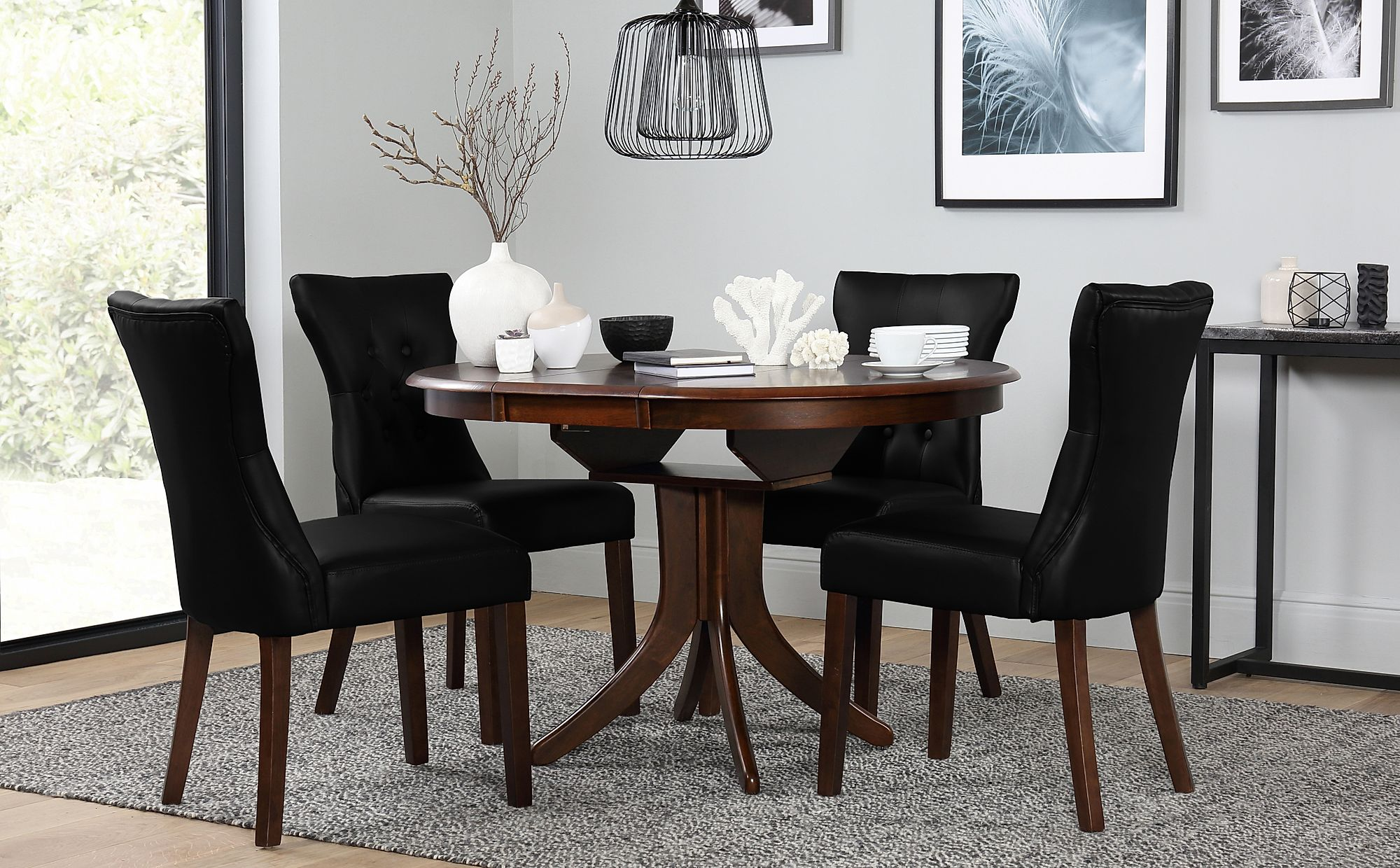 Remarkable Hudson Round Dark Wood Extending Dining Table With 6 Bewley Black Chairs Onthecornerstone Fun Painted Chair Ideas Images Onthecornerstoneorg