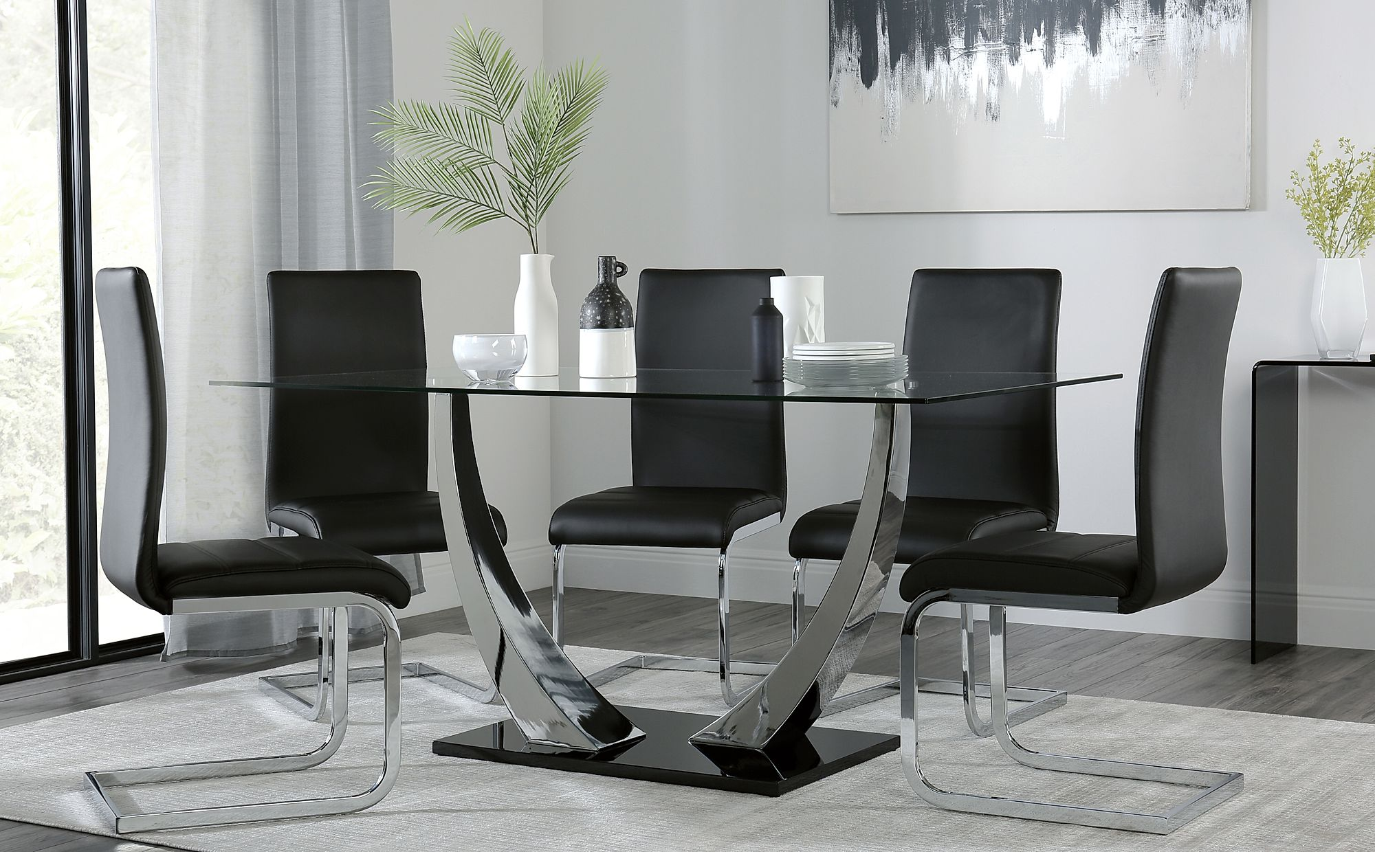 Peake Glass And Chrome Dining Table Black Gloss Base With 6 Perth Black Leather Chairs Only 163