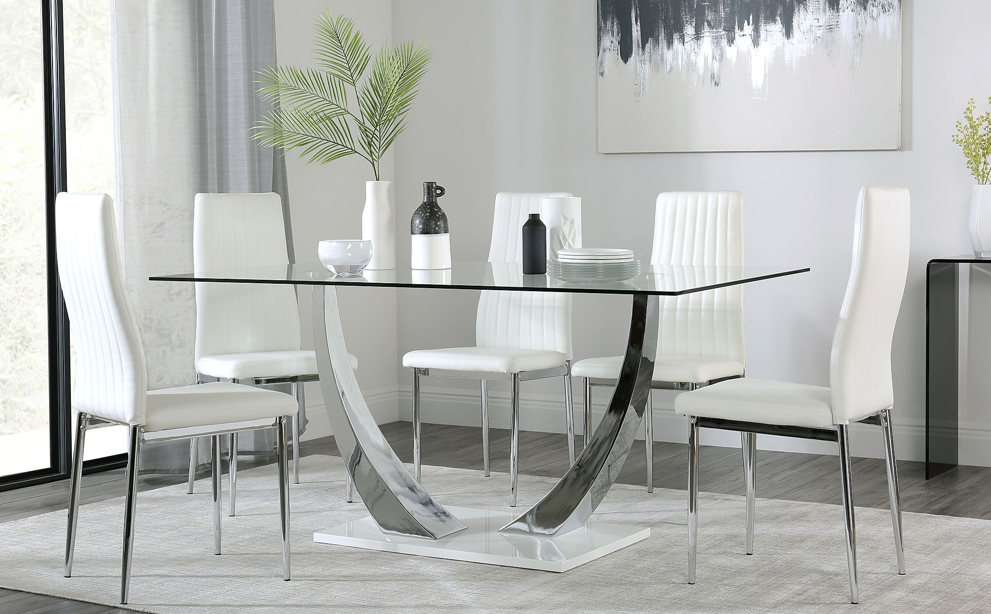peake glass and chrome dining table white gloss base with 6 leon white chairs only. Black Bedroom Furniture Sets. Home Design Ideas