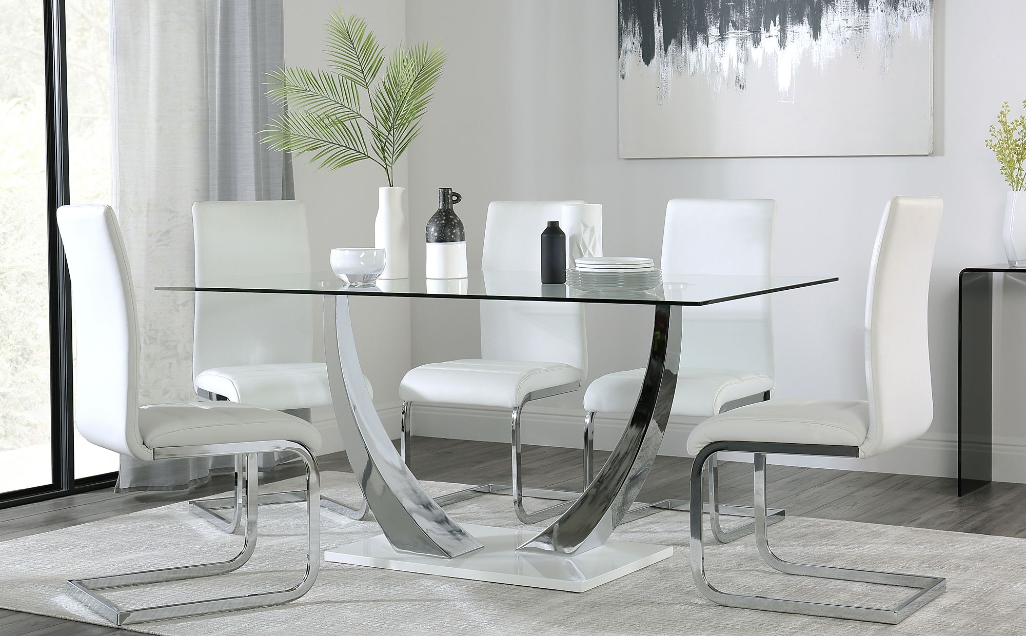 Furniture Choice & Peake Glass and Chrome Dining Table (White Gloss Base) - with 6 Perth White Leather Chairs