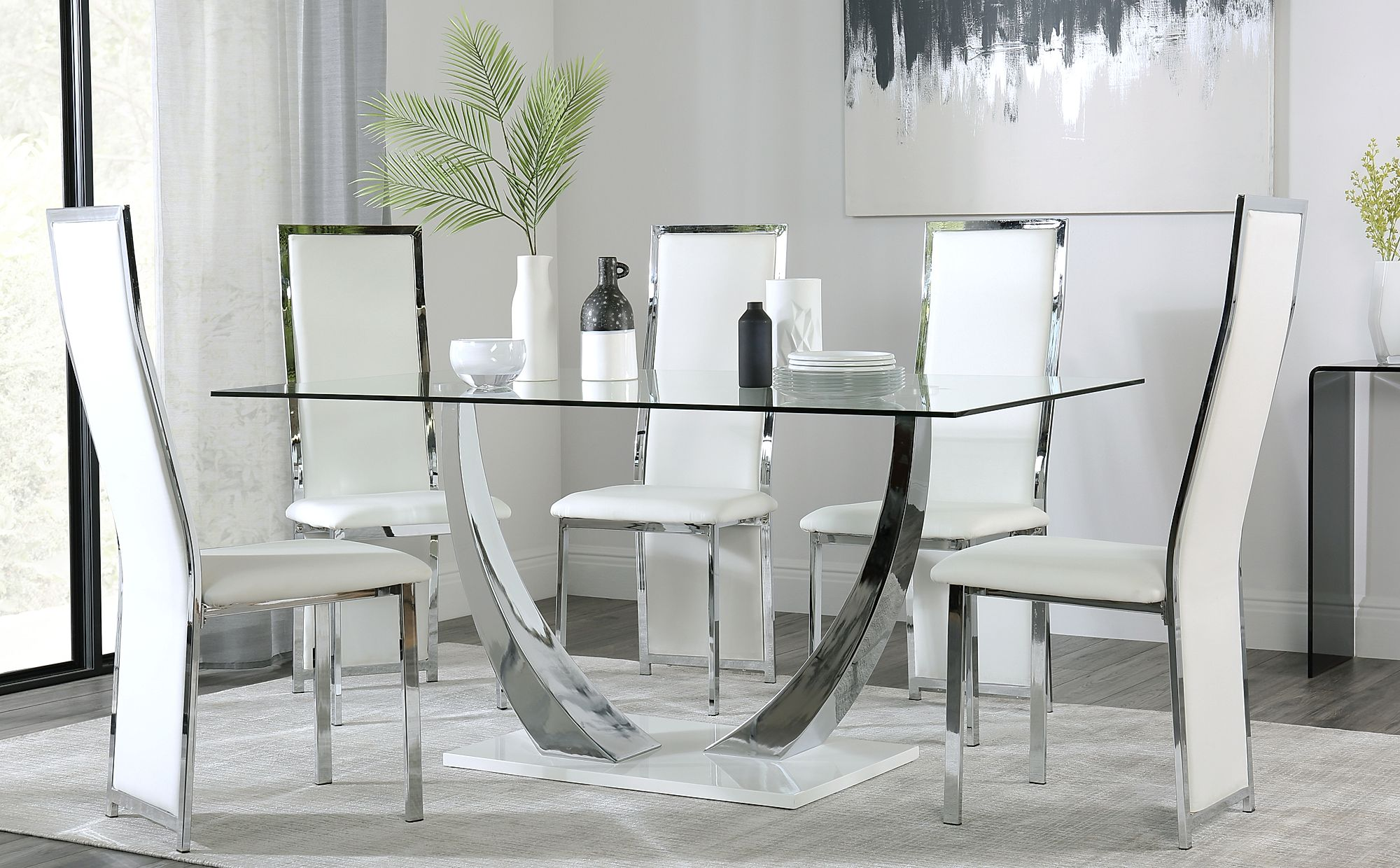 Peake Glass and Chrome Dining Table (White Gloss Base ...