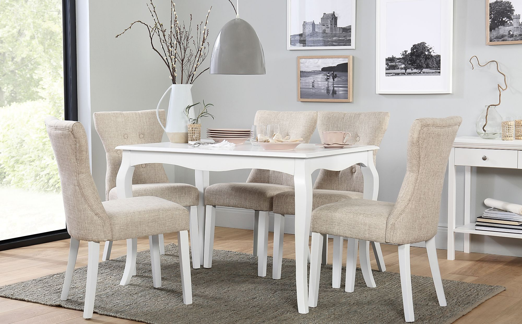 Clarendon White Dining Table with 6 Bewley Oatmeal Fabric ...