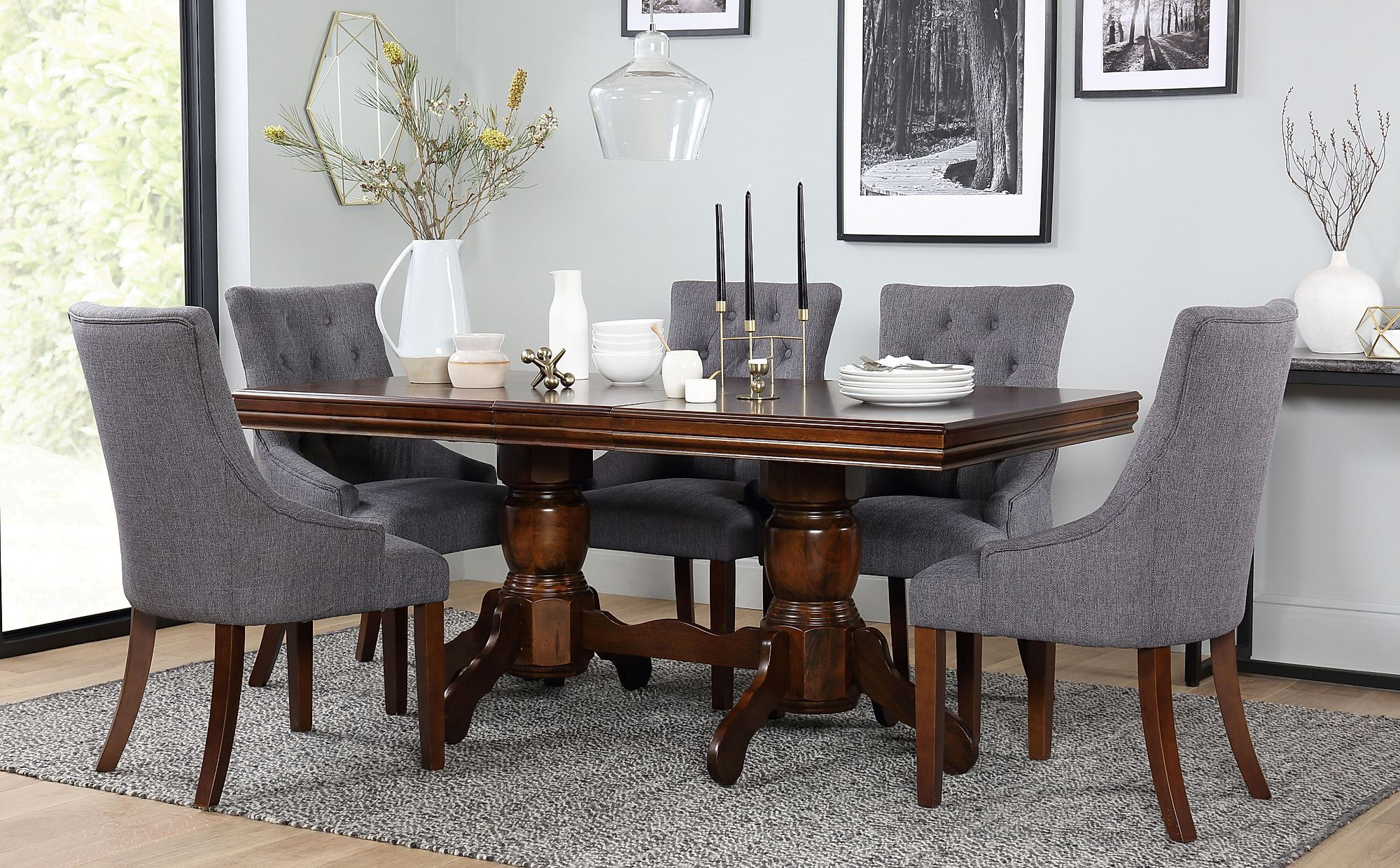 Chatsworth Dark Wood Extending Dining Table with 6 Duke ...