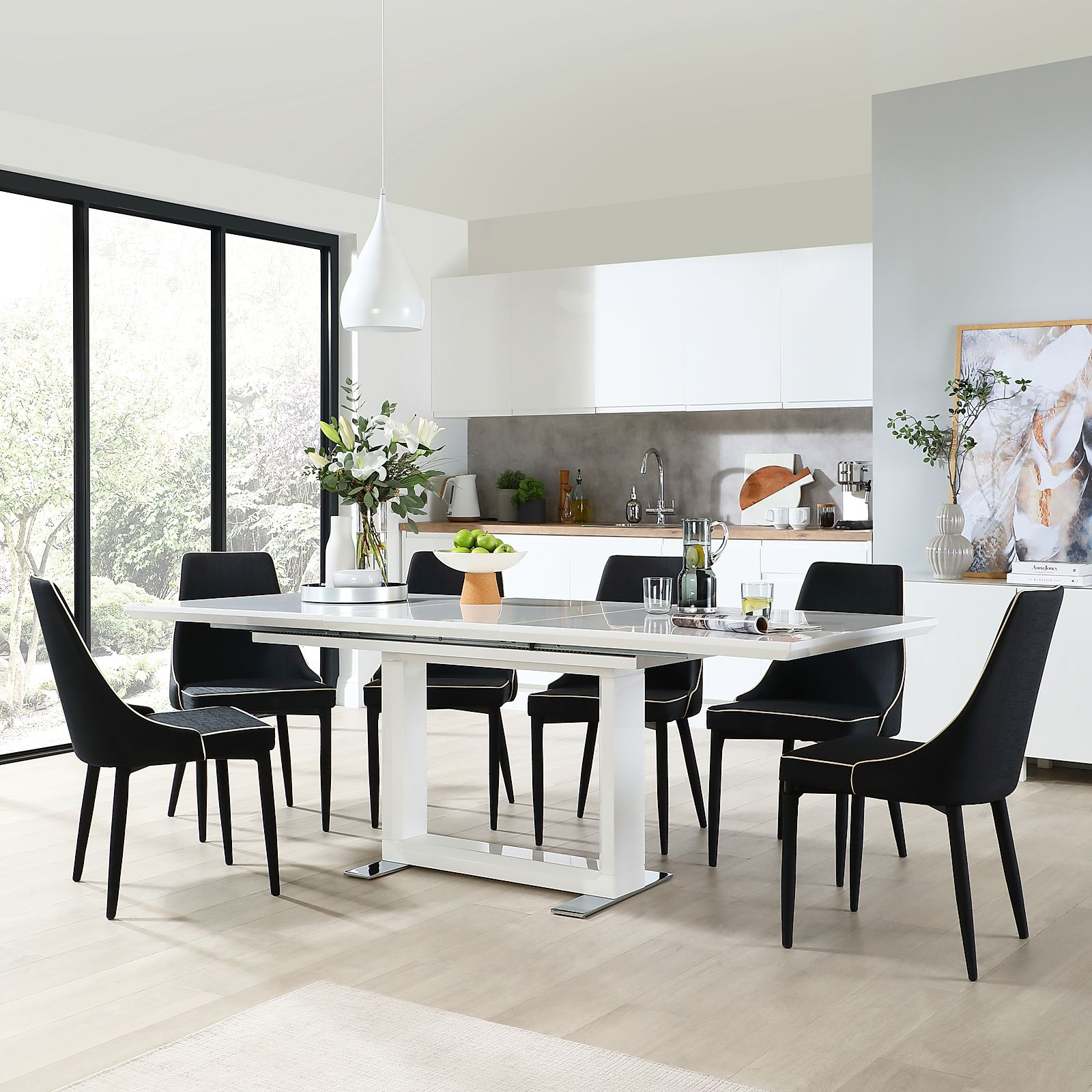 Tokyo White High Gloss Extending Dining Table With 6