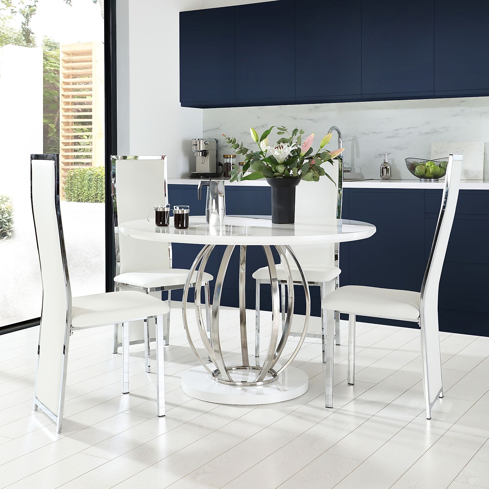 Savoy Round White High Gloss and Chrome Dining Table with ...