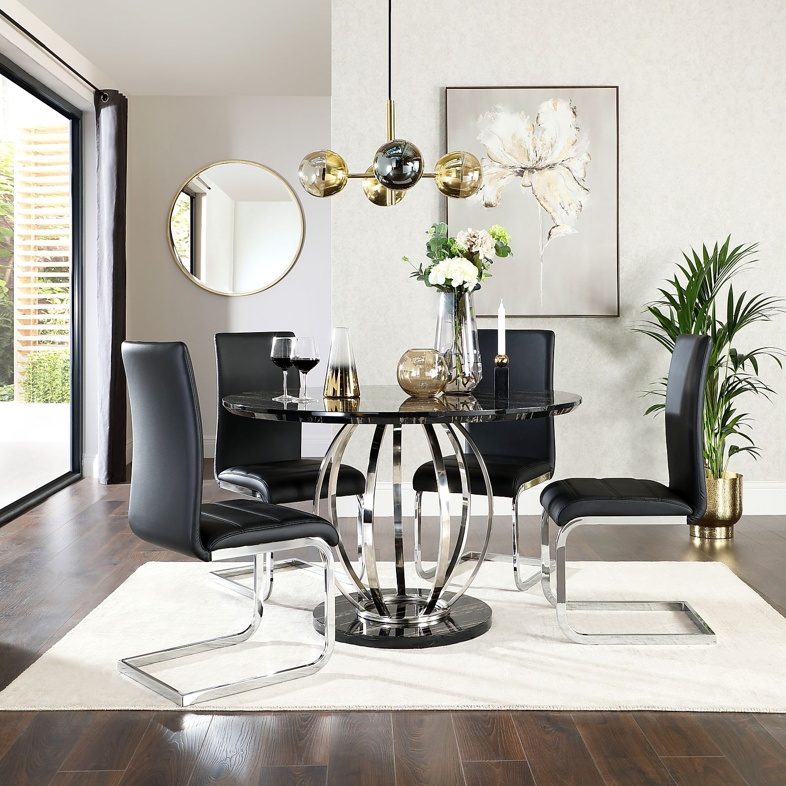 Savoy Round Black Marble And Chrome Dining Table With 4