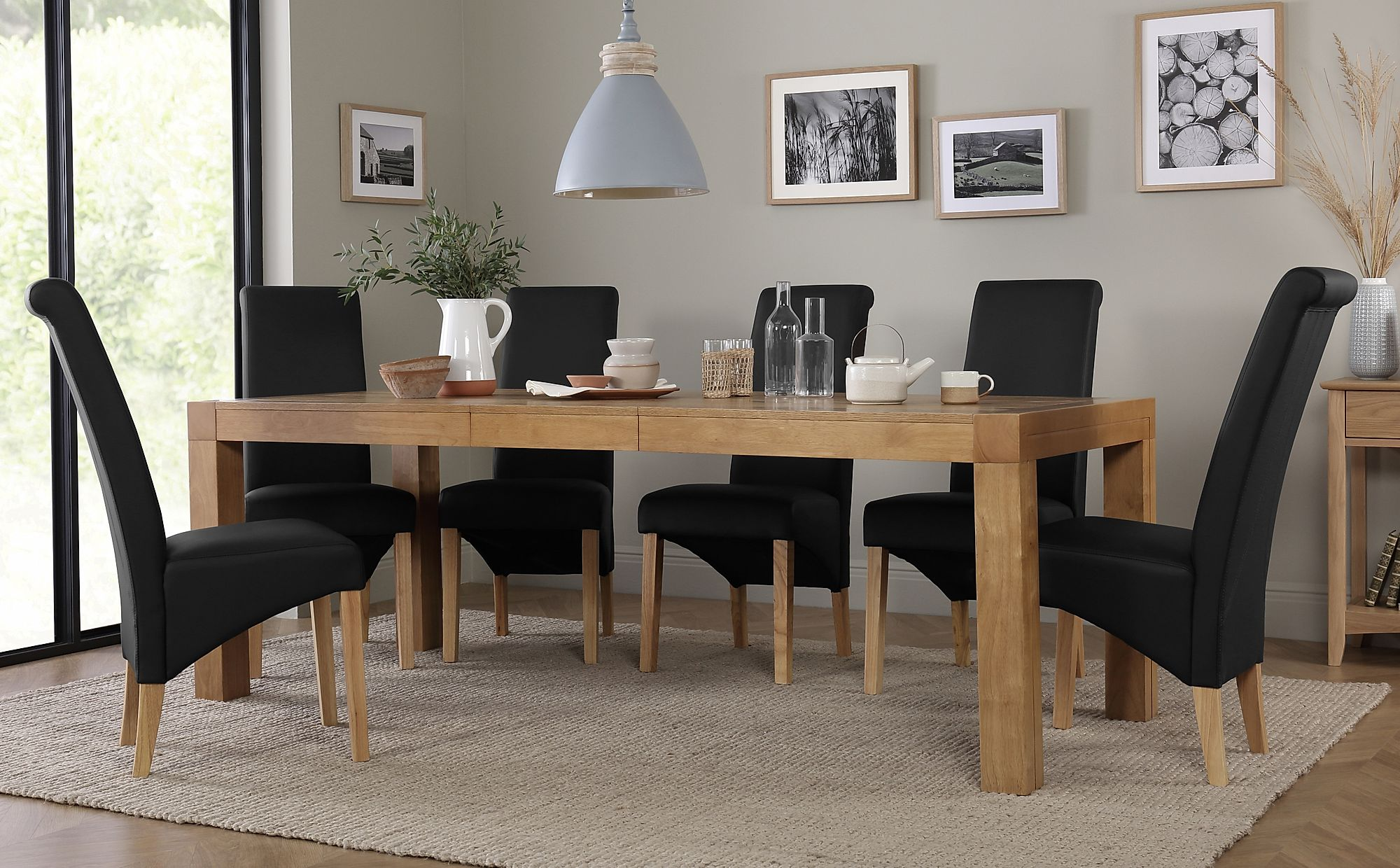 Cambridge oak extending dining table with richmond black