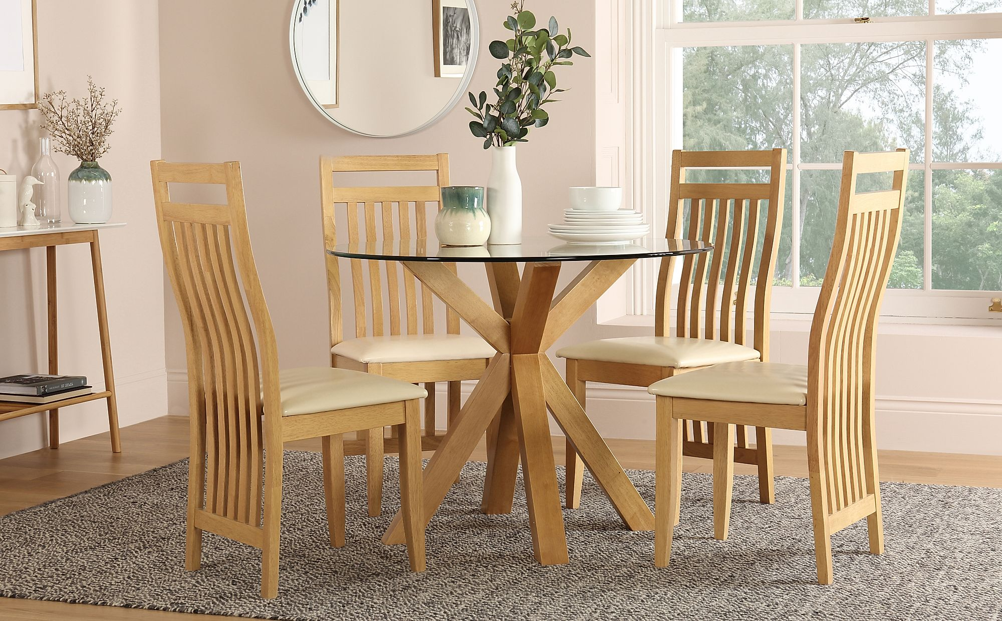 hatton round oak and glass dining table with 4 bali chairs