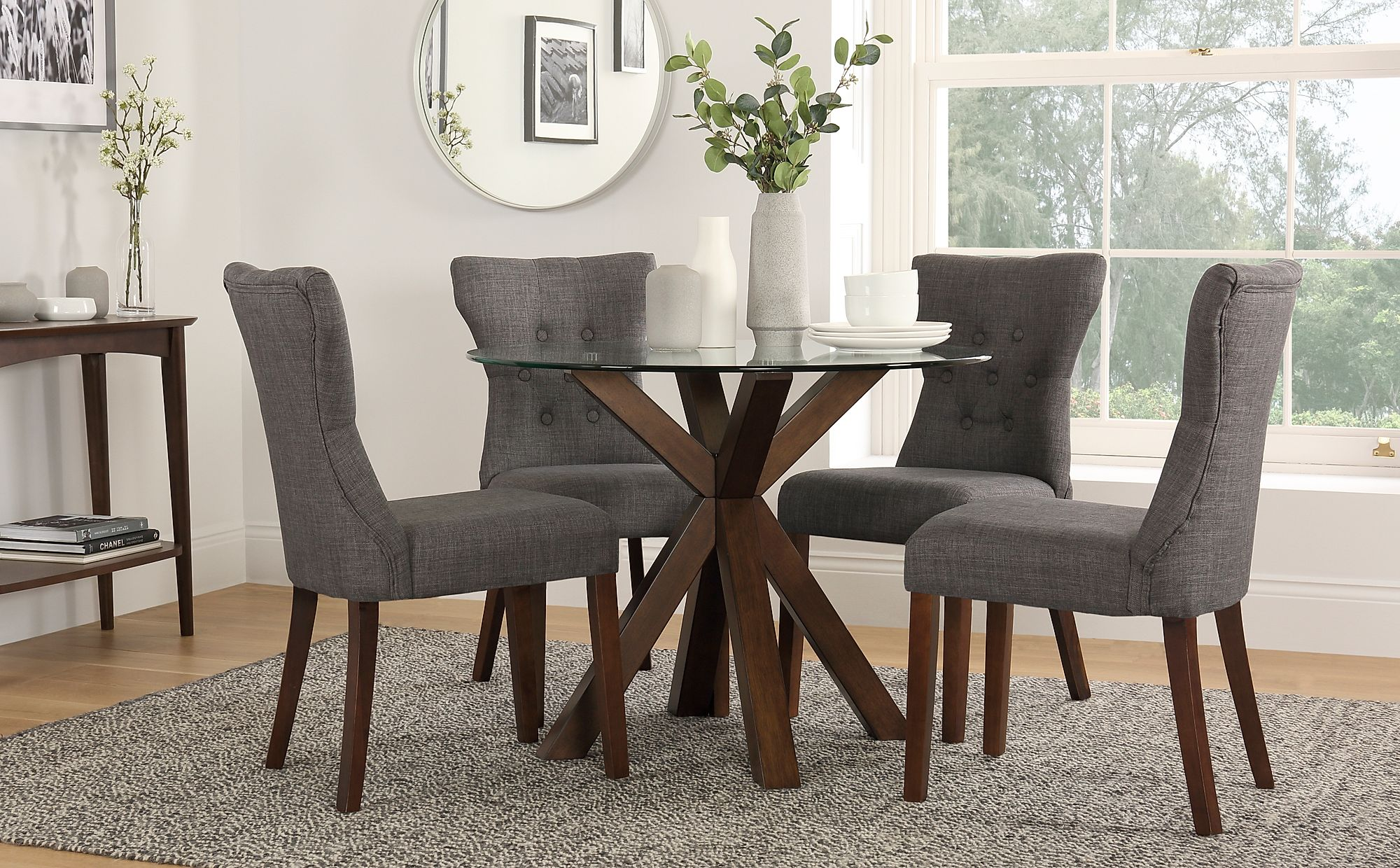 4 Optimal Choices In Glass Dining Table And Chairs: Hatton Round Walnut And Glass Dining Table With 4 Bewley