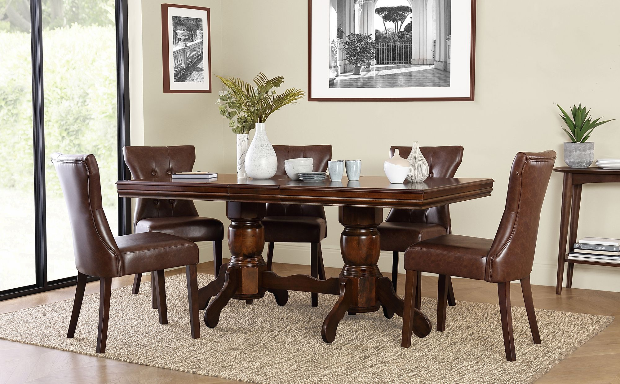 Chatsworth Dark Wood Extending Dining Table with 4 Bewley ...