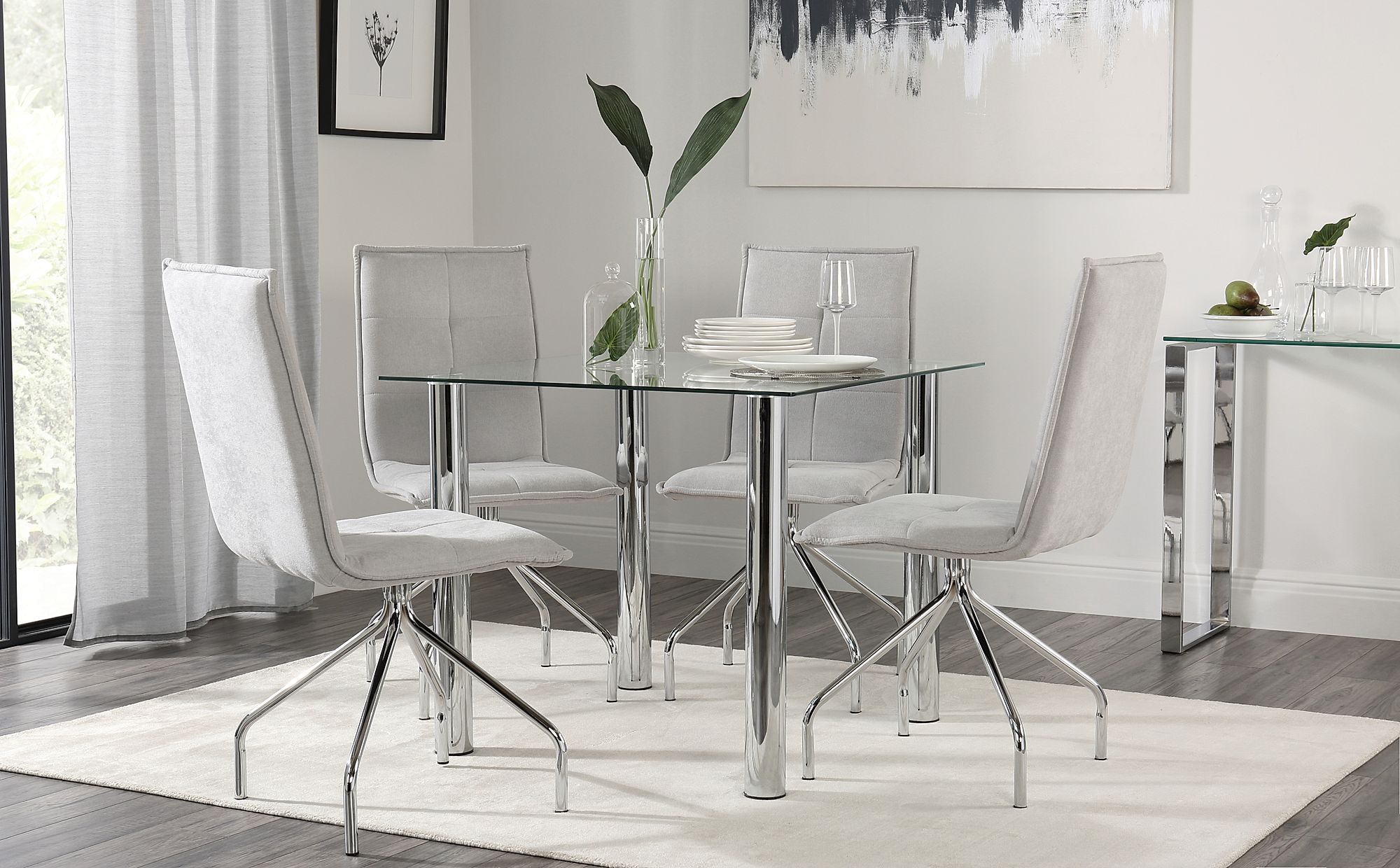 Nova Square Chrome And Glass Dining Table With 4 Soho Dove