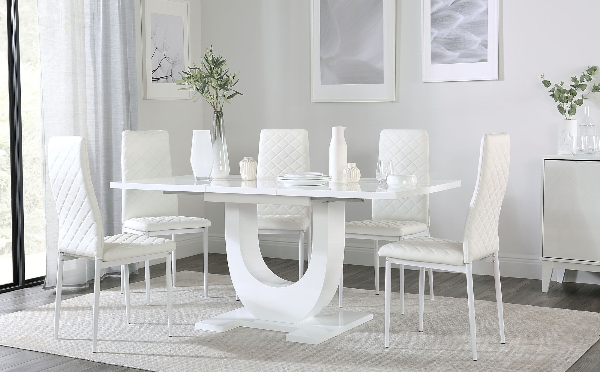 Oslo White High Gloss Extending Dining Table with 6 Renzo White ... 86b1d9312aac