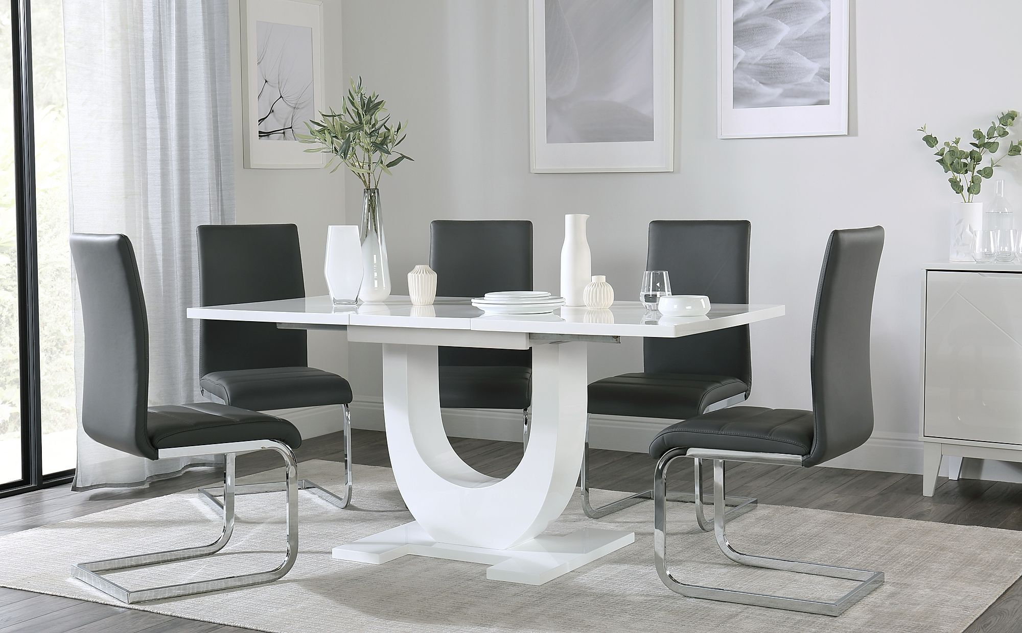Oslo White High Gloss Extending Dining Table With 4 Perth