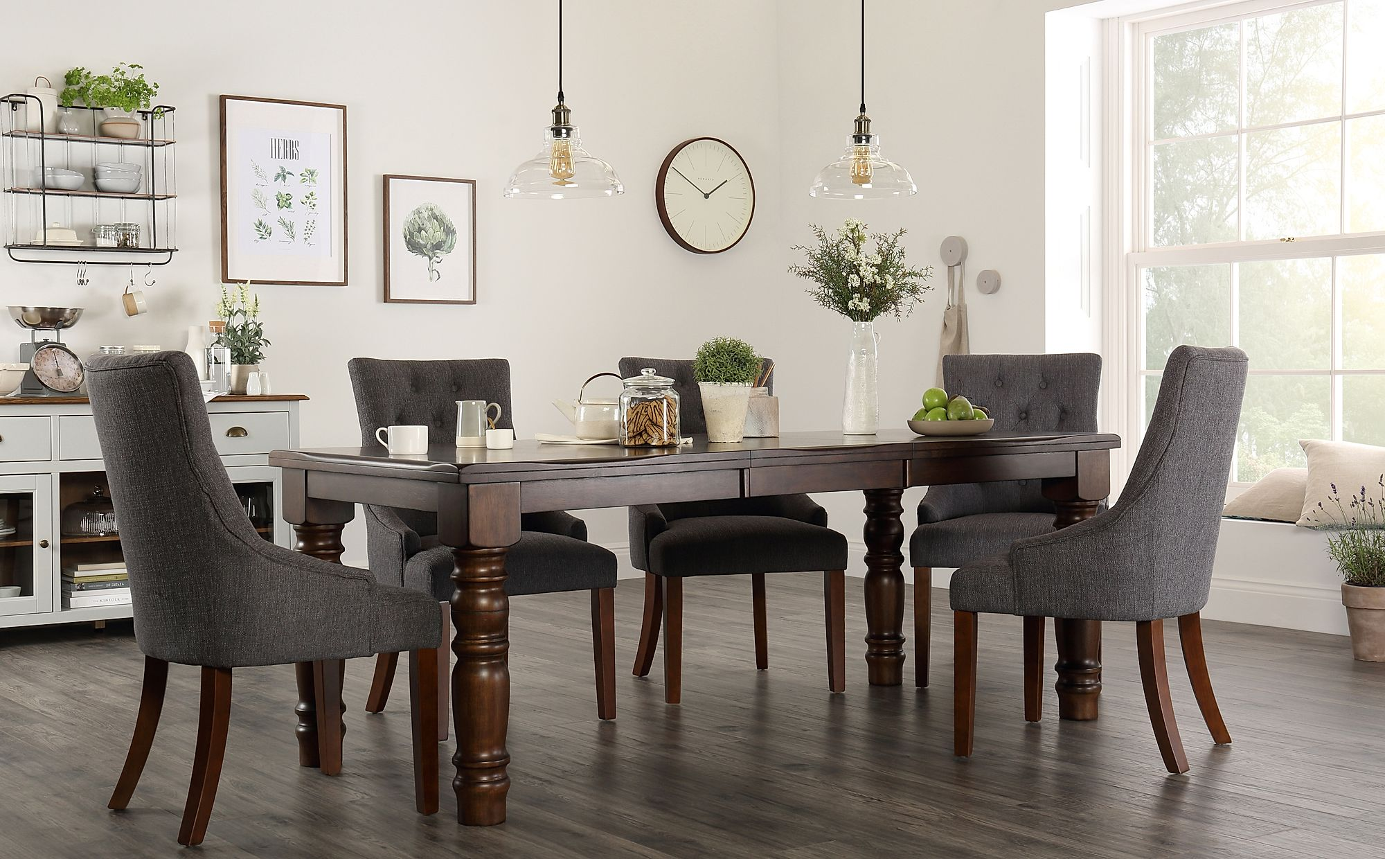 Hampshire Dark Wood Extending Dining Table with 6 Duke ...