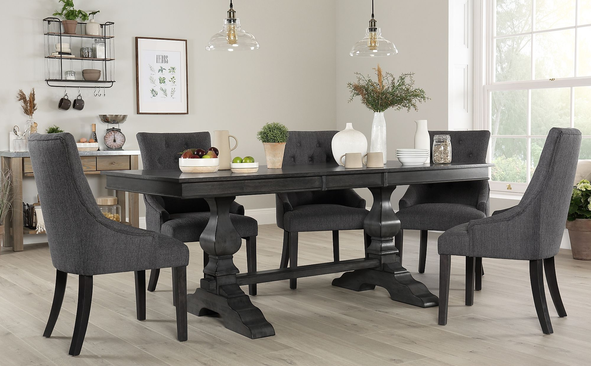 Cavendish Grey Wood Extending Dining Table with 4 Duke ...