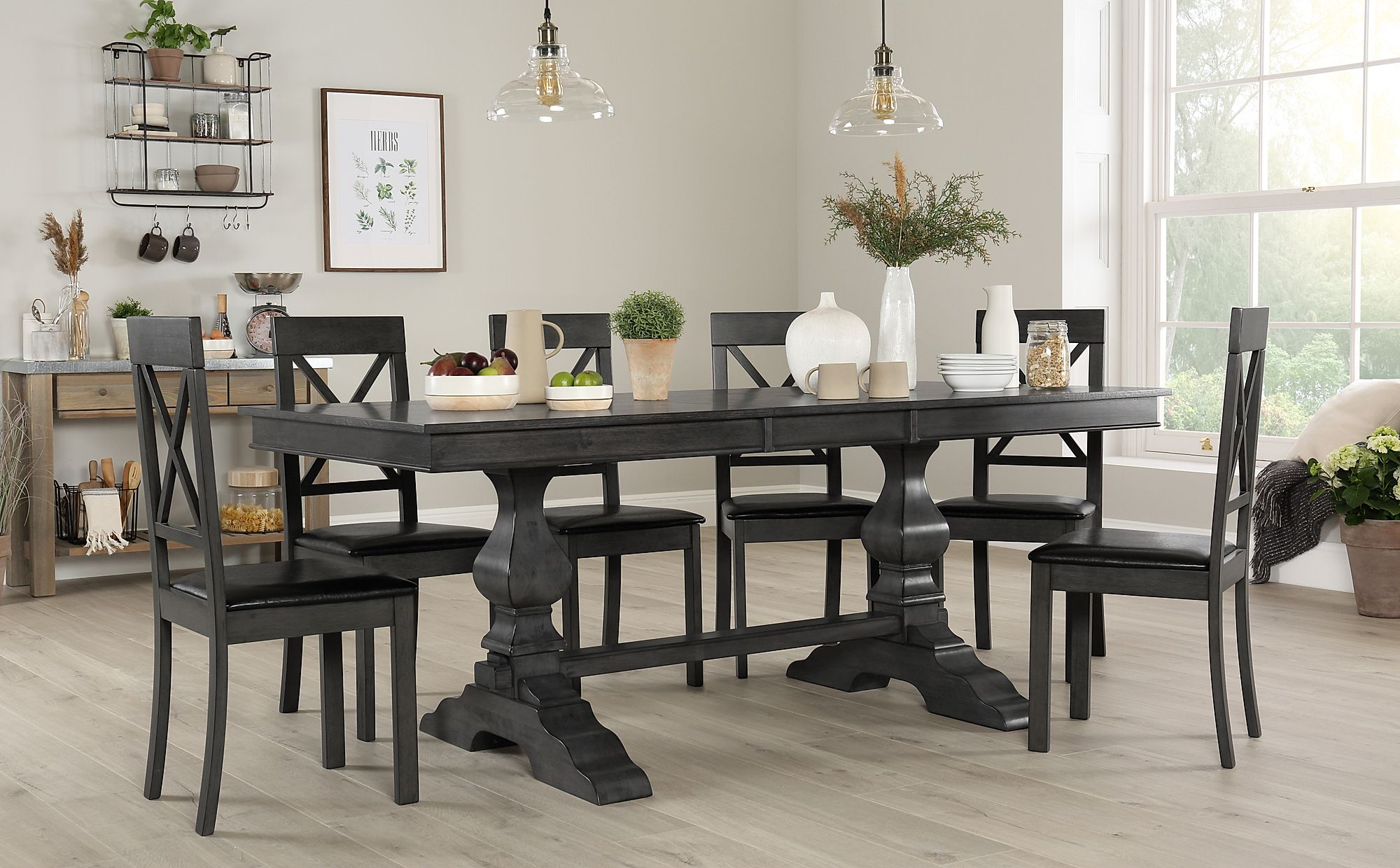 Grey Wood Dining Room Table: Cavendish Grey Wood Extending Dining Table With 6 Kendal