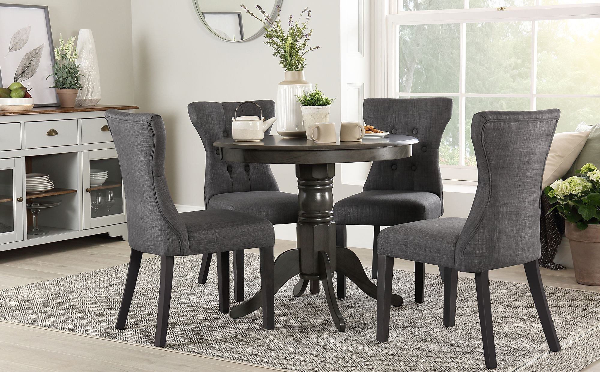 Kingston Round Grey Wood Dining Table with 4 Bewley Slate ...