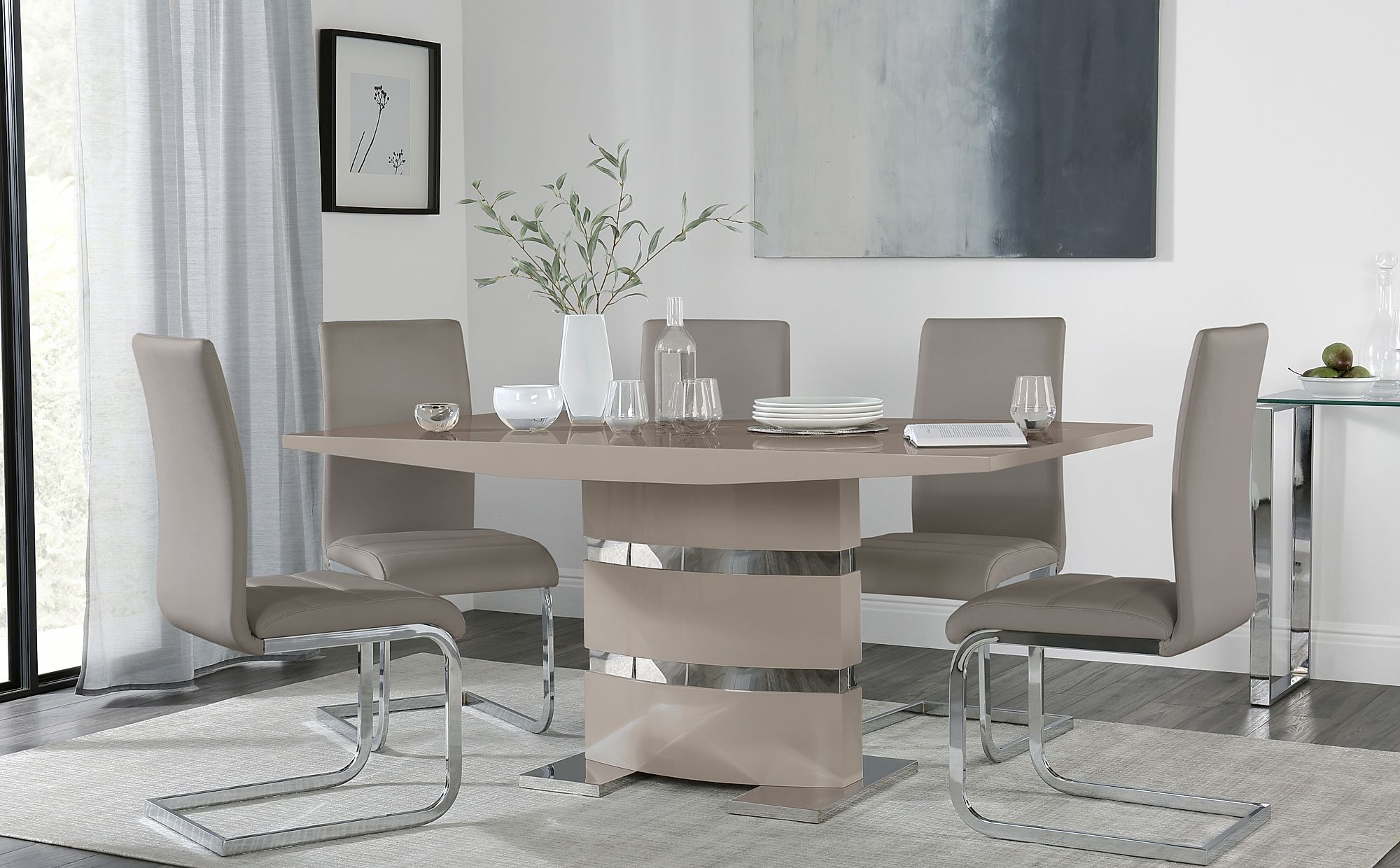 Komoro Taupe High Gloss Dining Table With 6 Perth Taupe