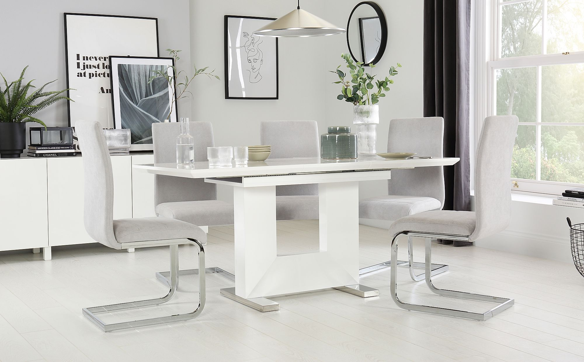 Florence White High Gloss Extending Dining Table With 6