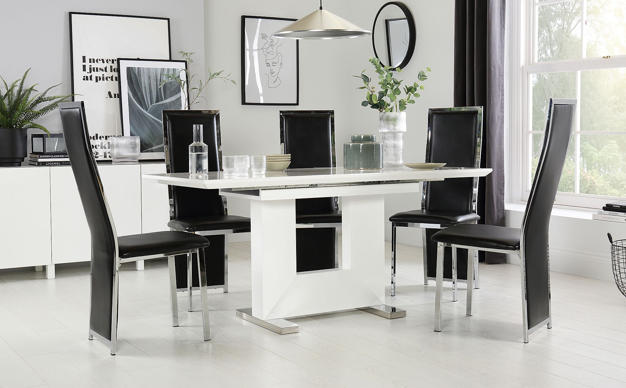 Florence White High Gloss Extending Dining Table with 4 ...