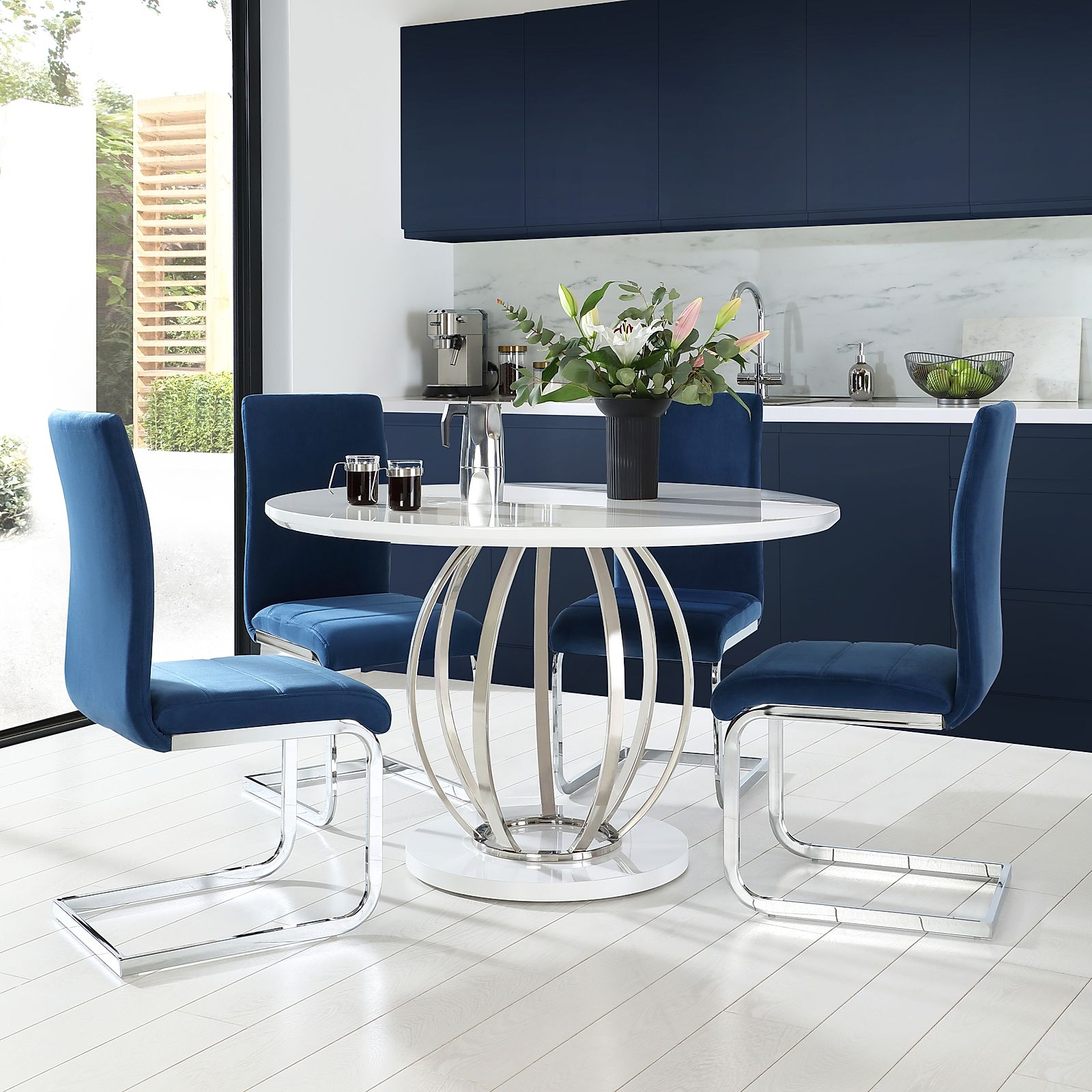 Enjoyable Details About Savoy Round White High Gloss Chrome Dining Table 4 Perth Blue Velvet Chairs Ncnpc Chair Design For Home Ncnpcorg