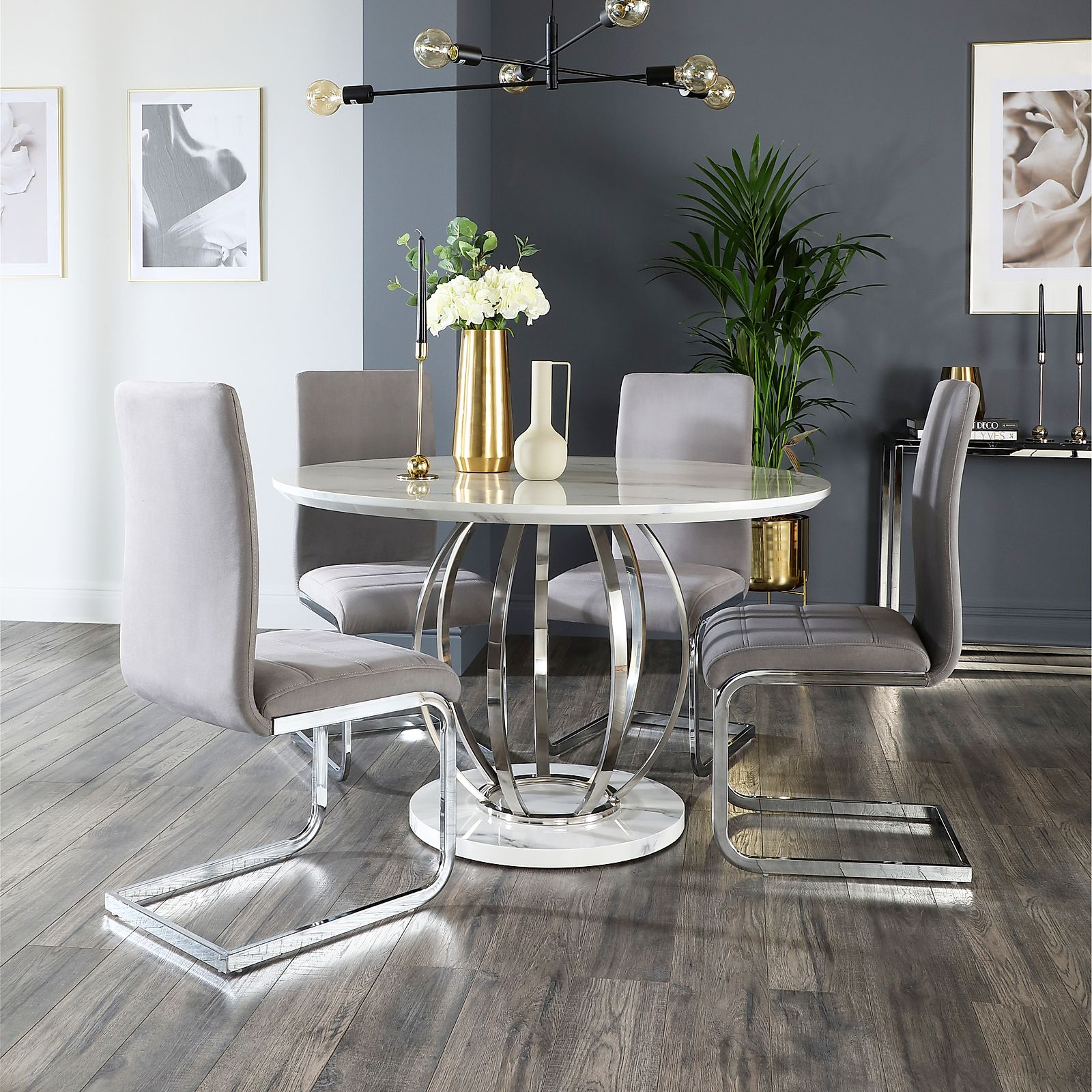 Savoy Round White Marble and Chrome Dining Table with 4 ...
