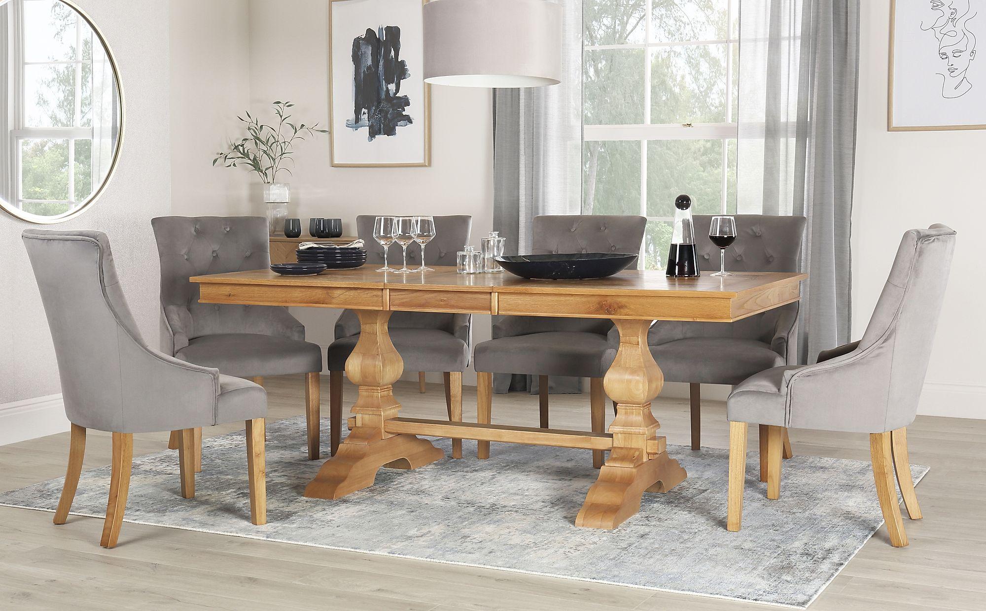 Cavendish Oak Extending Dining Table with 6 Duke Grey ...