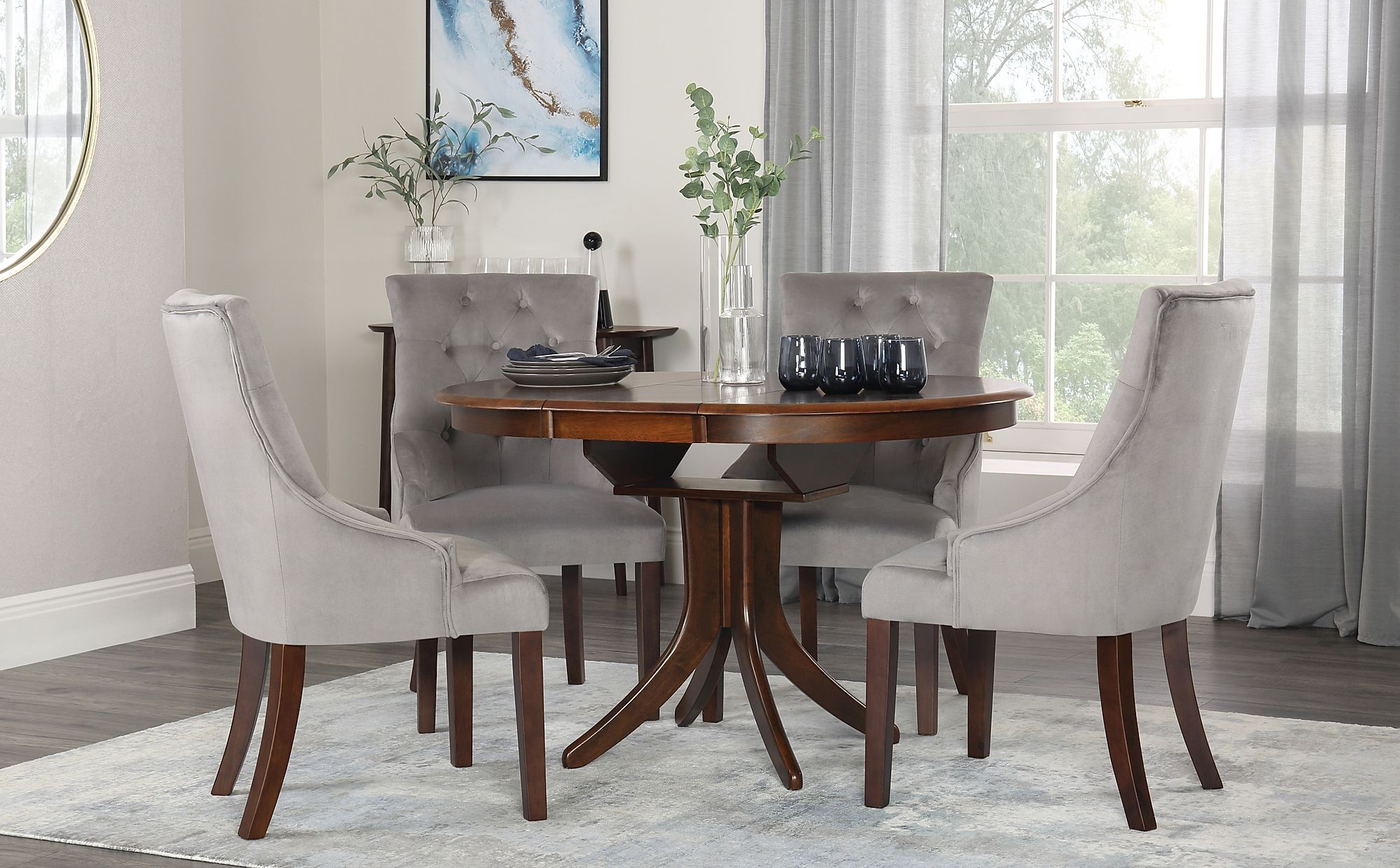 Hudson Round Dark Wood Extending Dining Table with 4 Duke ...