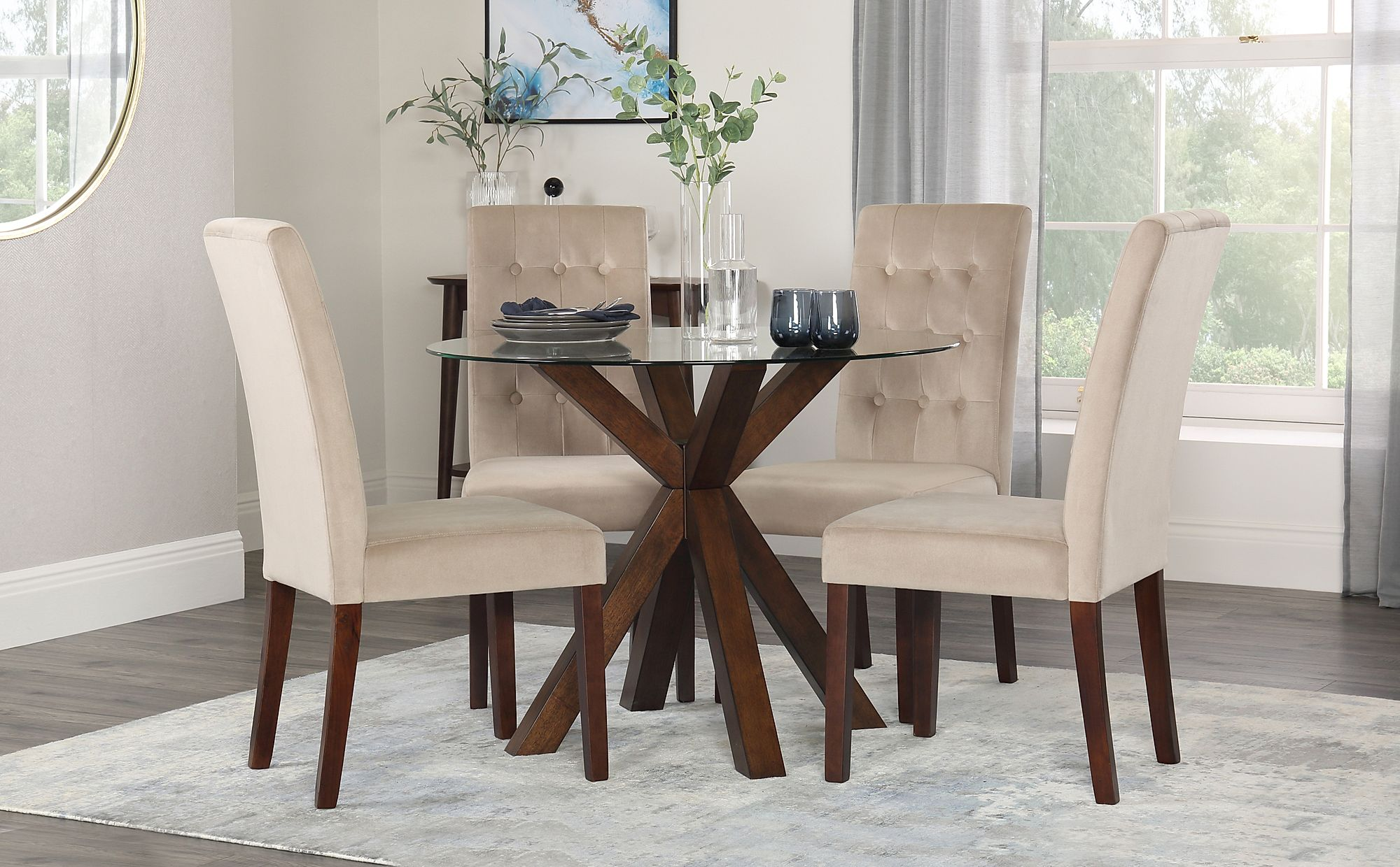 hatton round dark wood and glass dining table with 4