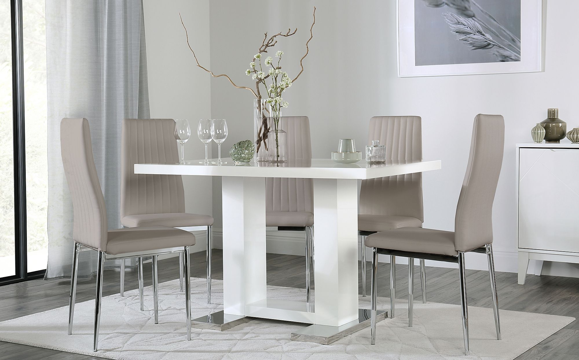 Joule White High Gloss Dining Table with 4 Leon Taupe ...