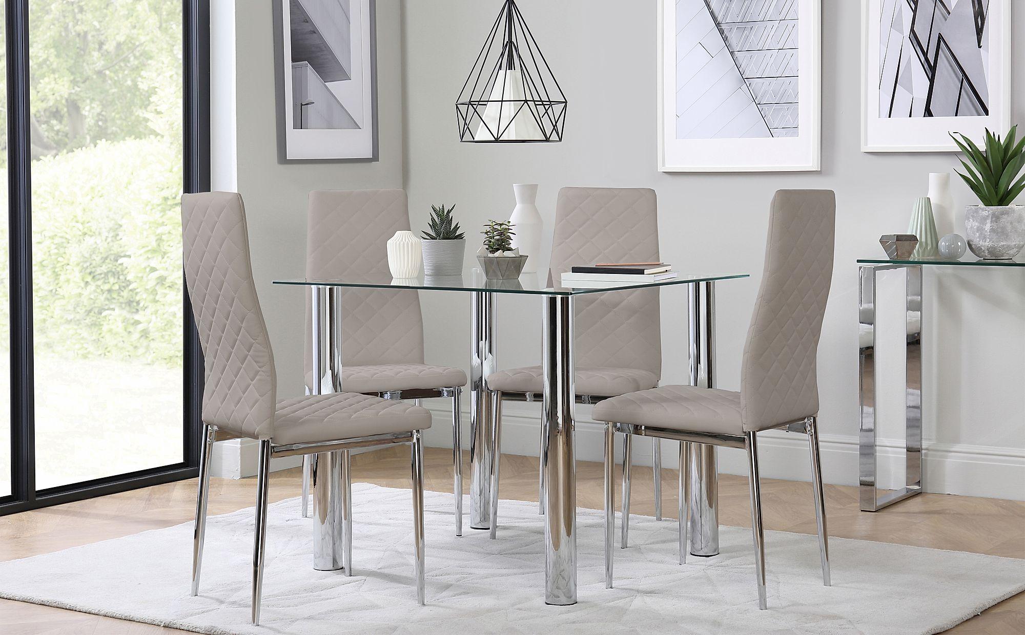 Nova & Renzo Square Glass & Chrome Dining Table And 4