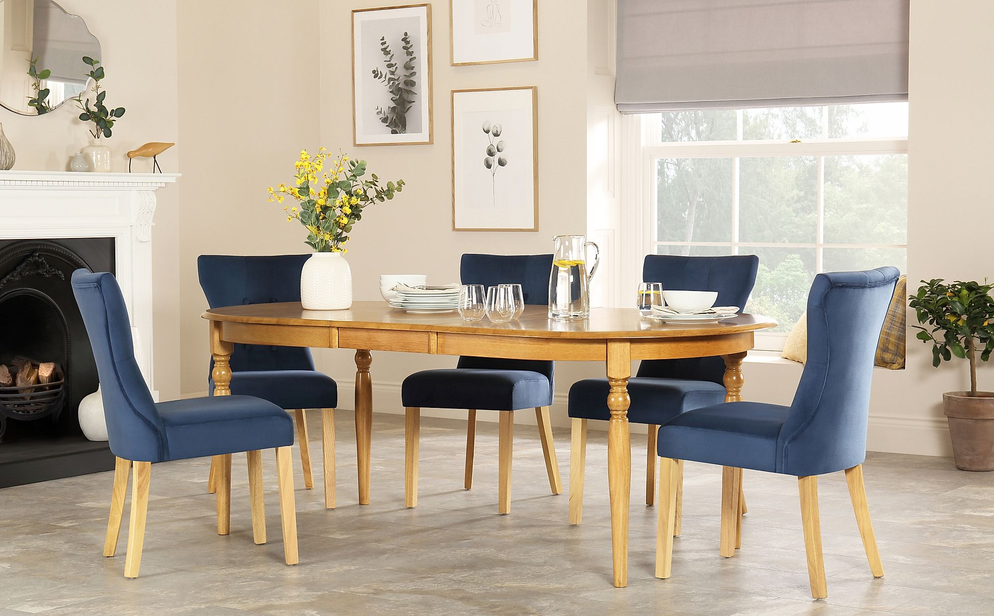 Details About Albany Oval Oak Extending Dining Table With 4 6 8 Bewley Blue Velvet Chairs