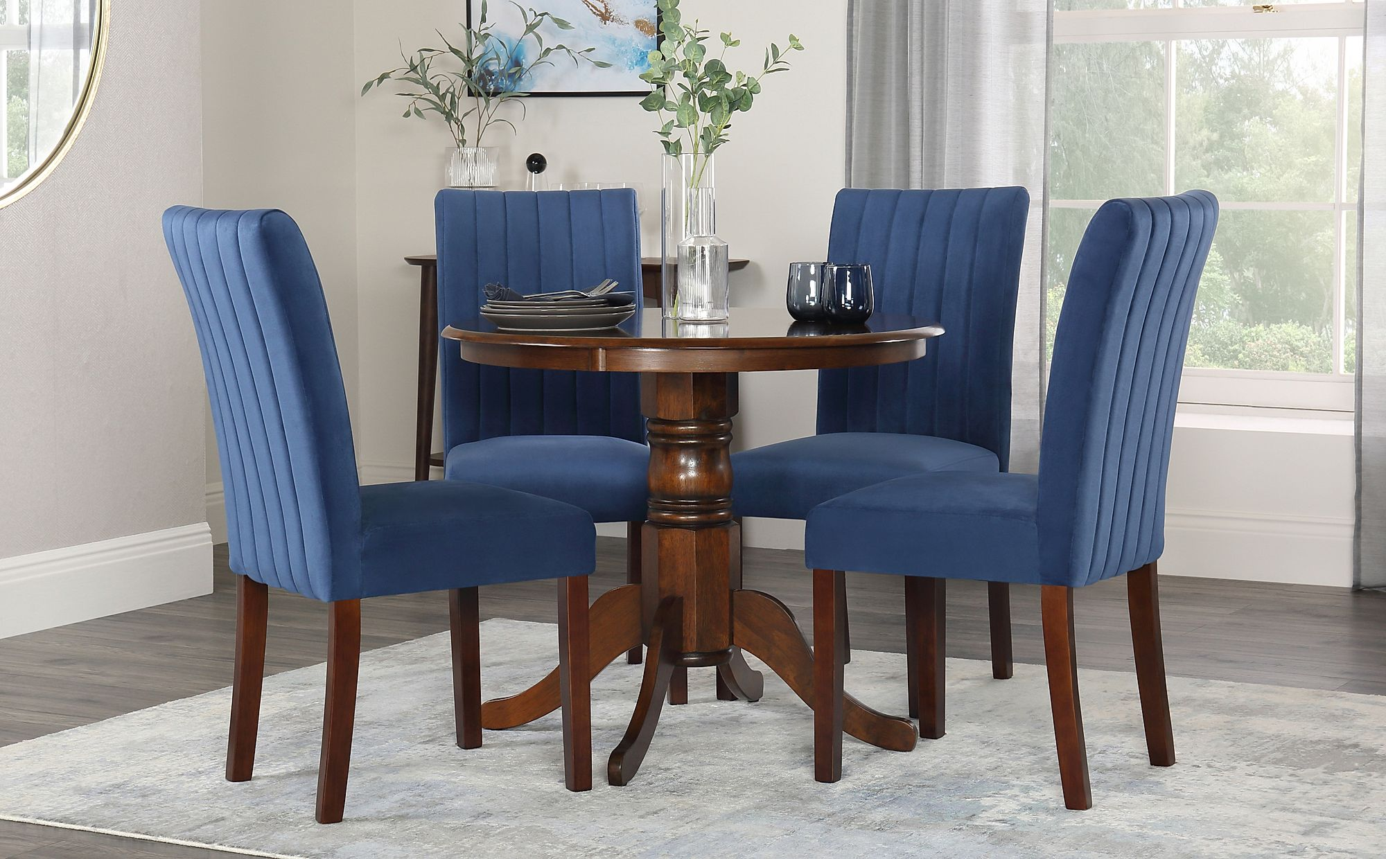 Surprising Details About Kingston Round Dark Wood Dining Table With Salisbury Blue Velvet Chairs Best Image Libraries Thycampuscom