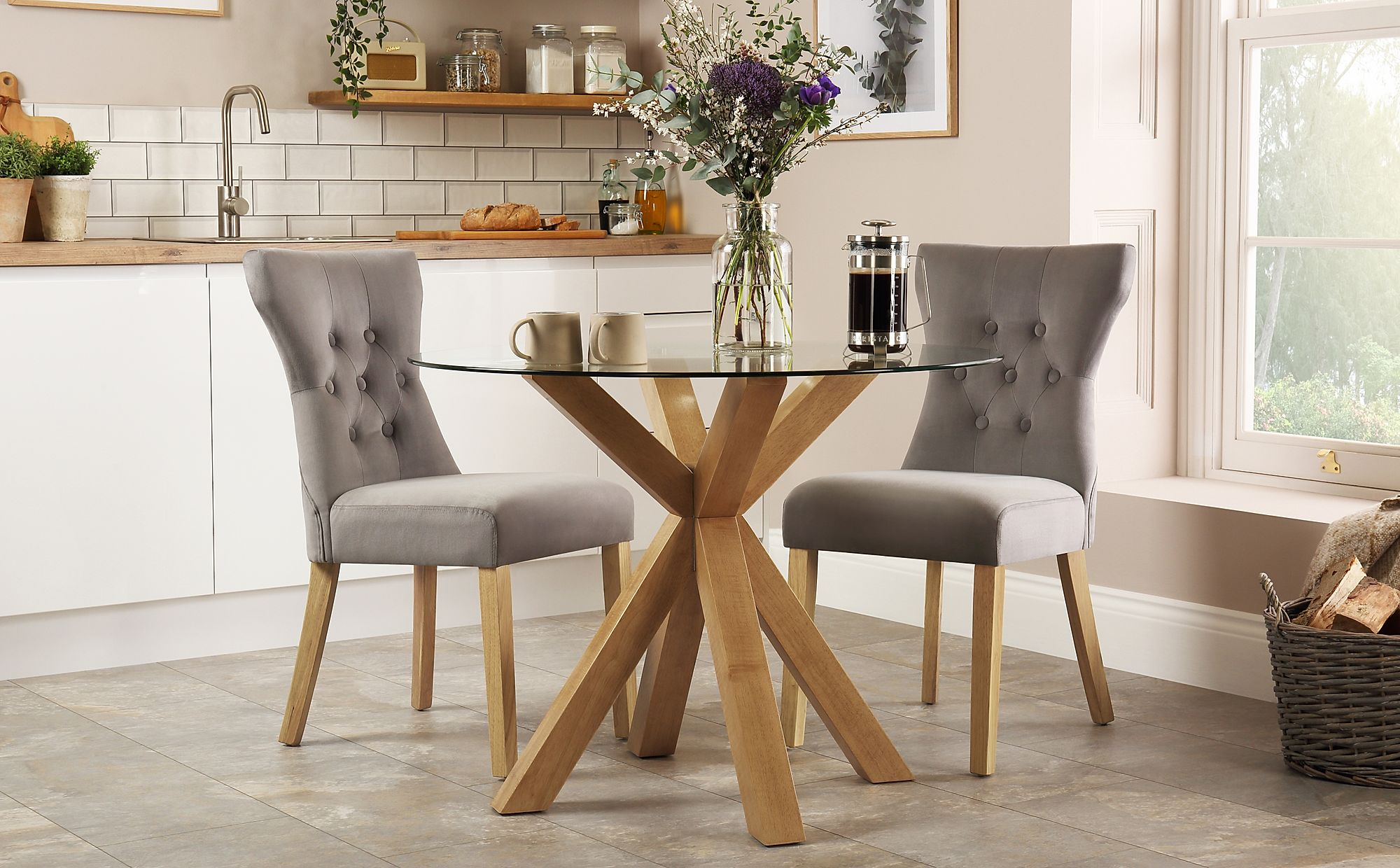 Hatton Round Oak and Glass Dining Table with 2 Bewley Grey ...